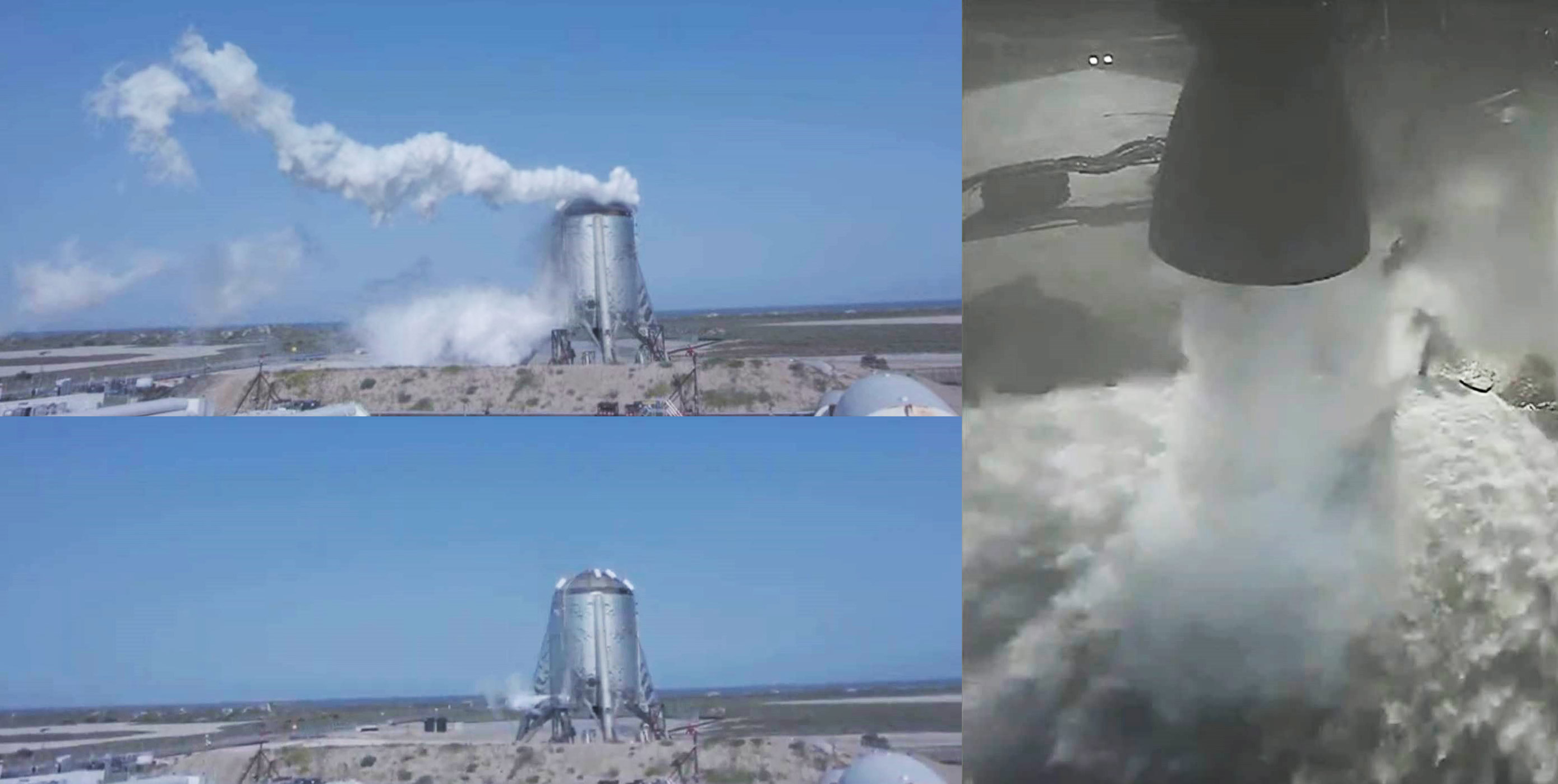 Starhopper flight 2 082619 (SpaceX) webcast mosaic 1