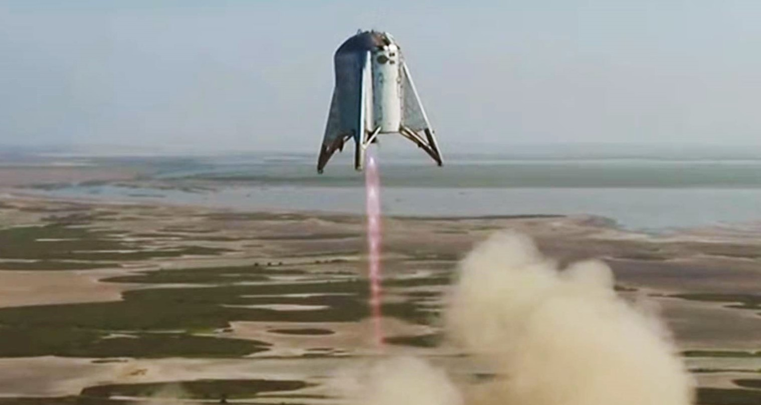 Starhopper flight 2 082719 (SpaceX) liftoff 2 crop