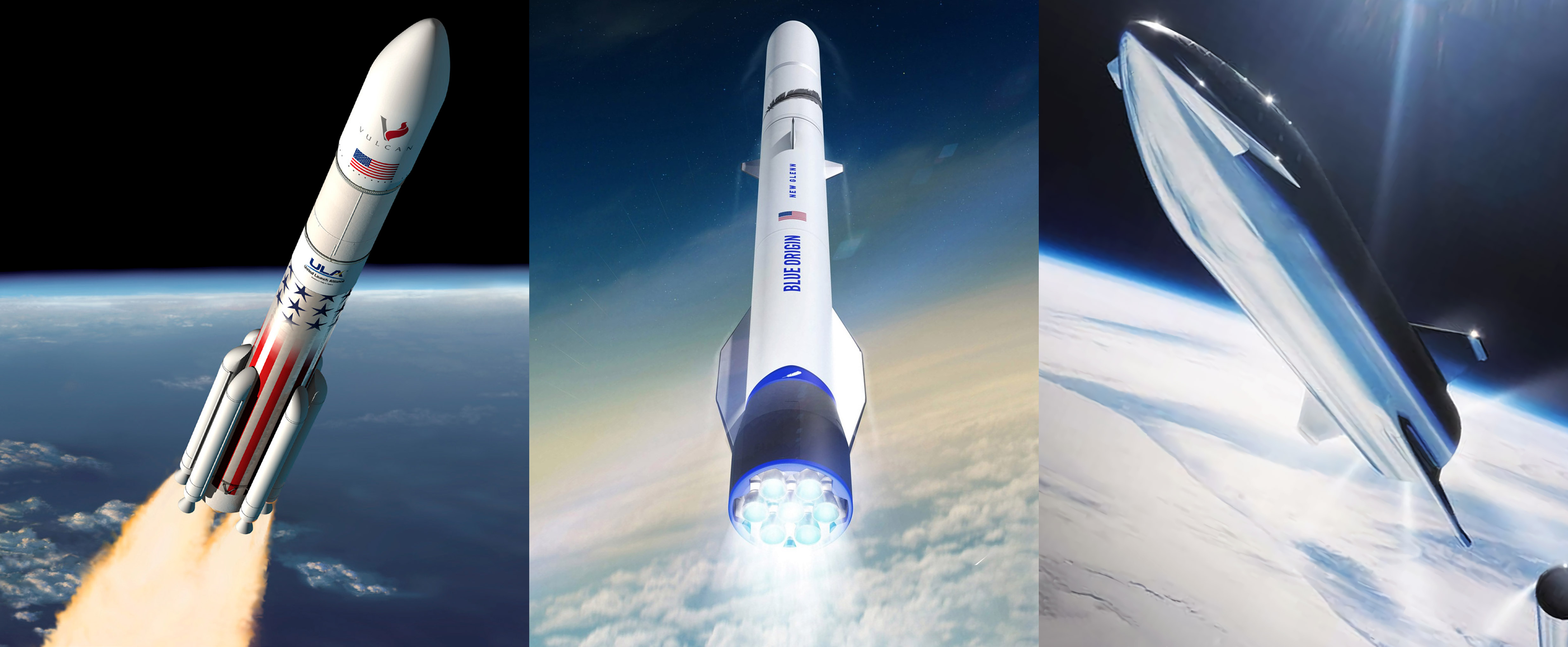 Vulcan Heavy New Glenn Starship renders (ULA – Blue Origin – SpaceX) 1