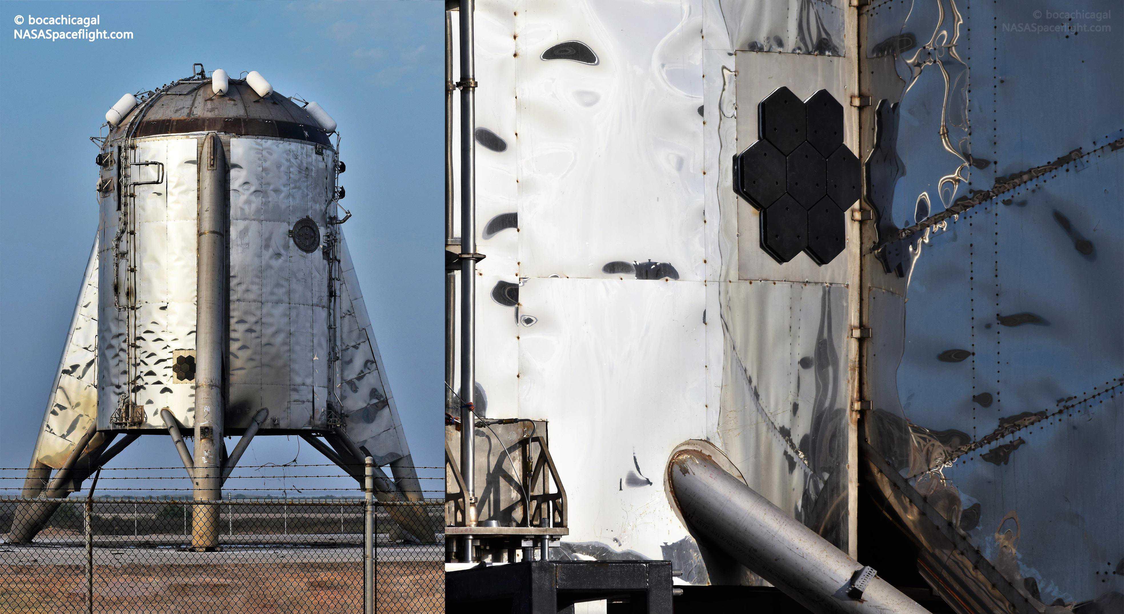 Boca Chica Starhopper post hop 082819 (NASASpaceflight – bocachicagal) Starship tiles 1 (c)