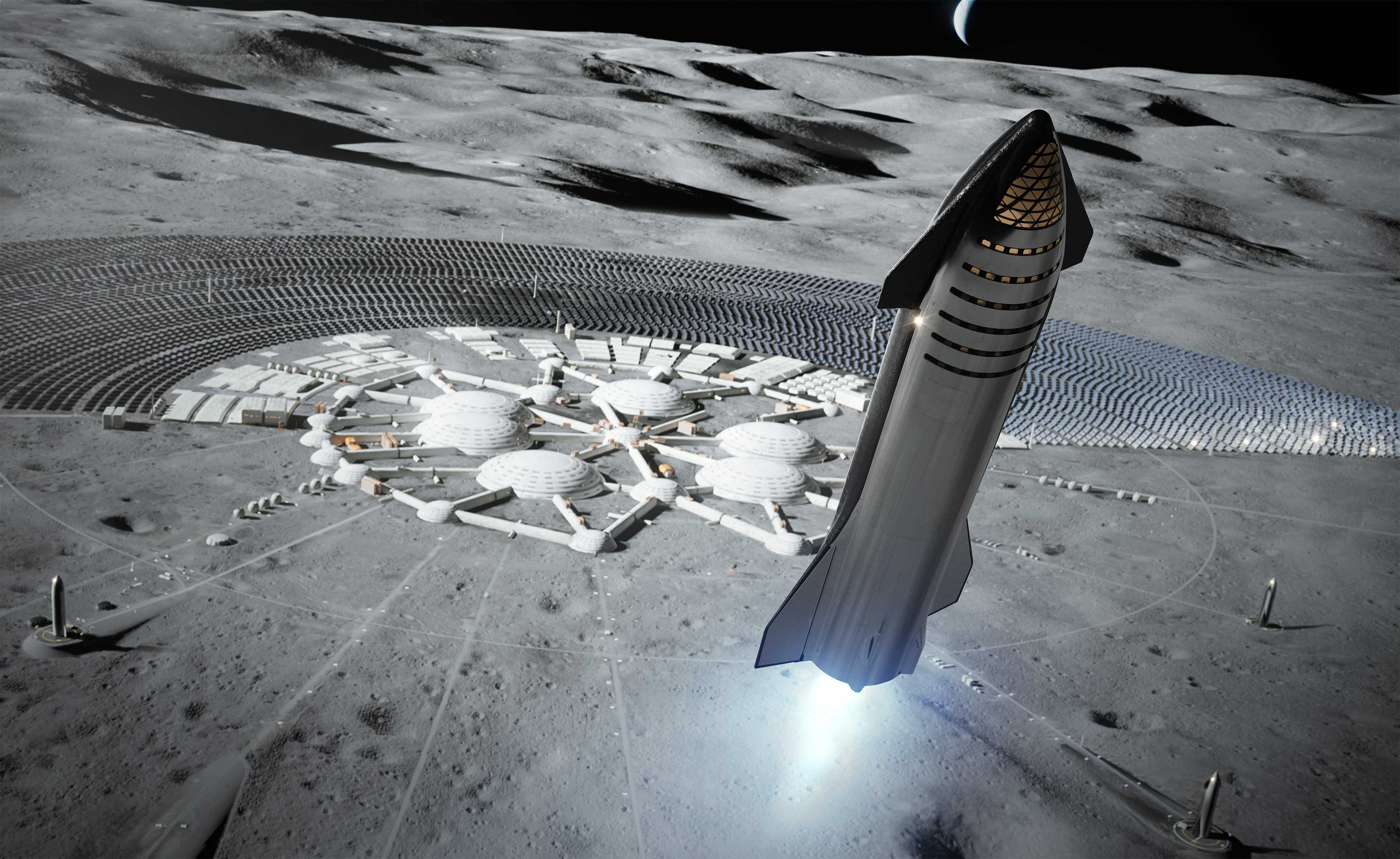 Starship 2019 Mars Moon base render (SpaceX) 1 full (c)