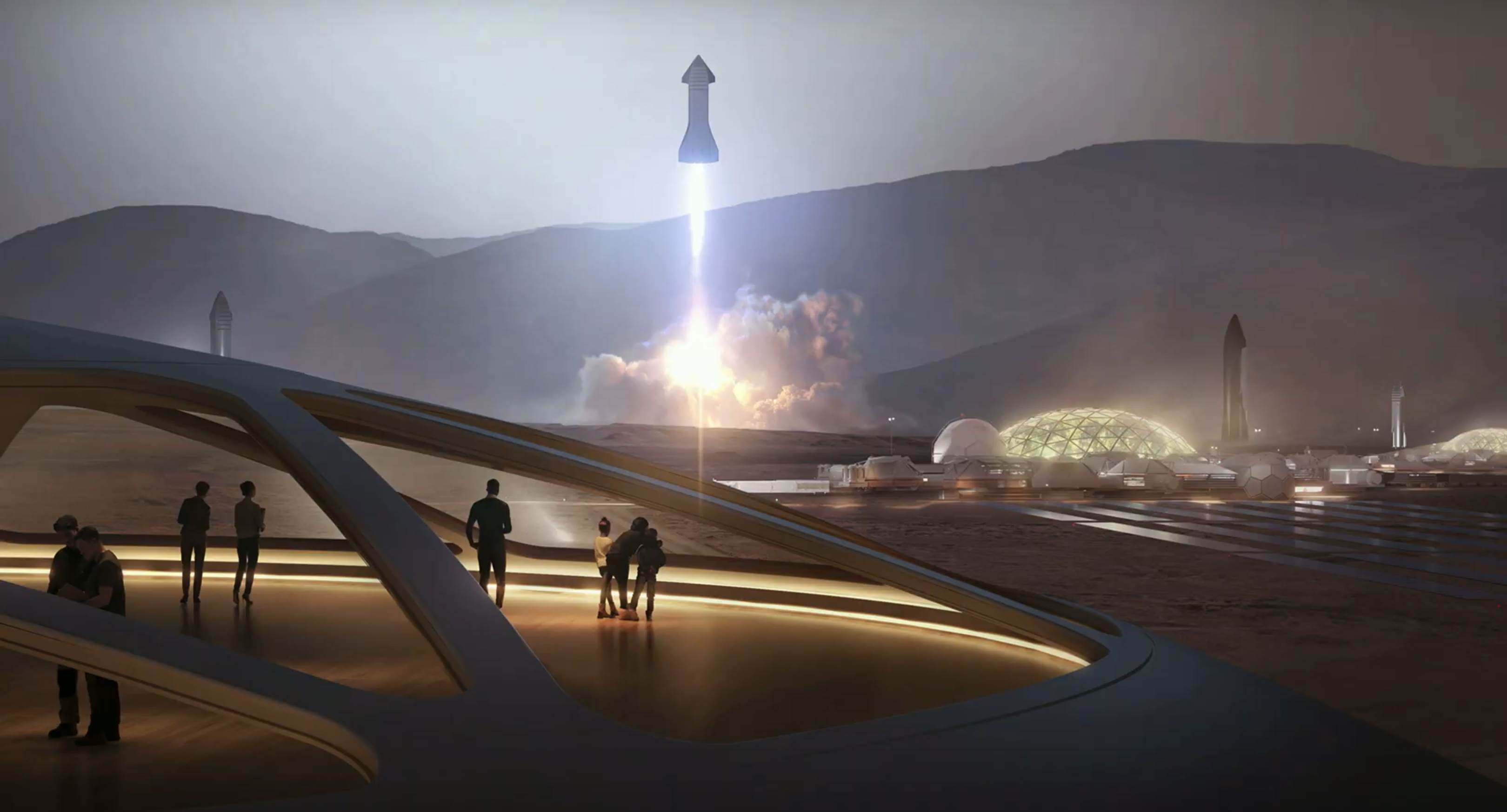 Starship 2019 Mars Moon base render (SpaceX) 1