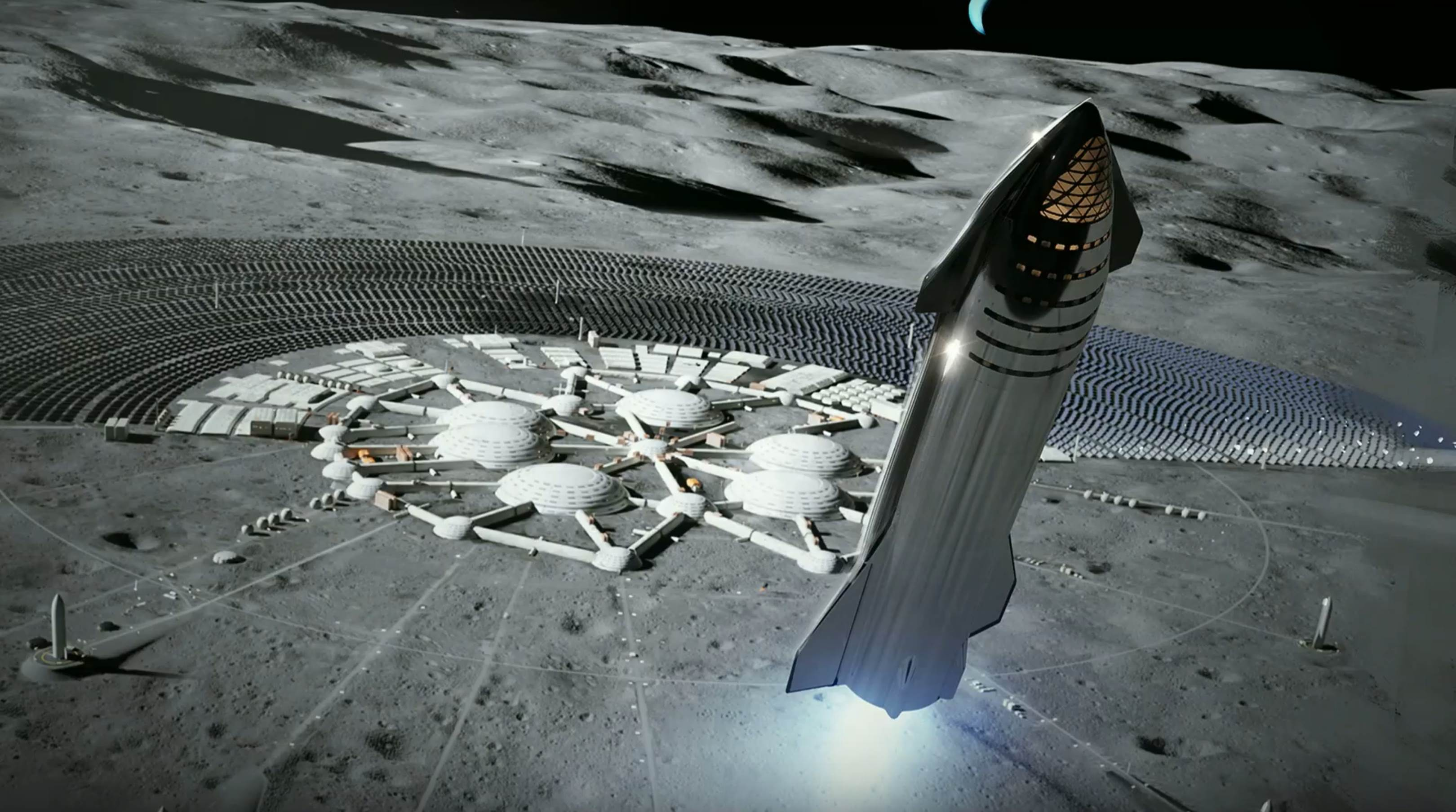 Starship 2019 Moon base render (SpaceX) 1