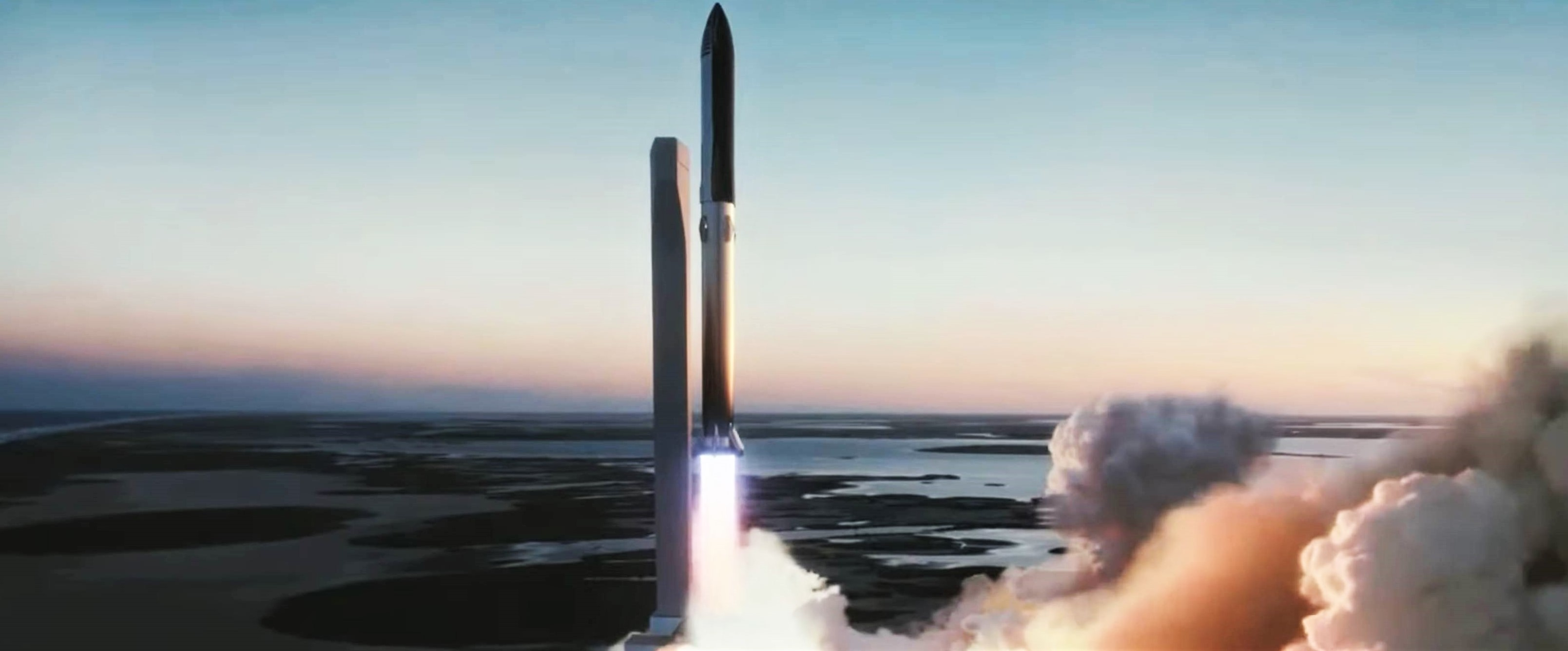 Starship Super Heavy Boca Chica launch (SpaceX) render 1