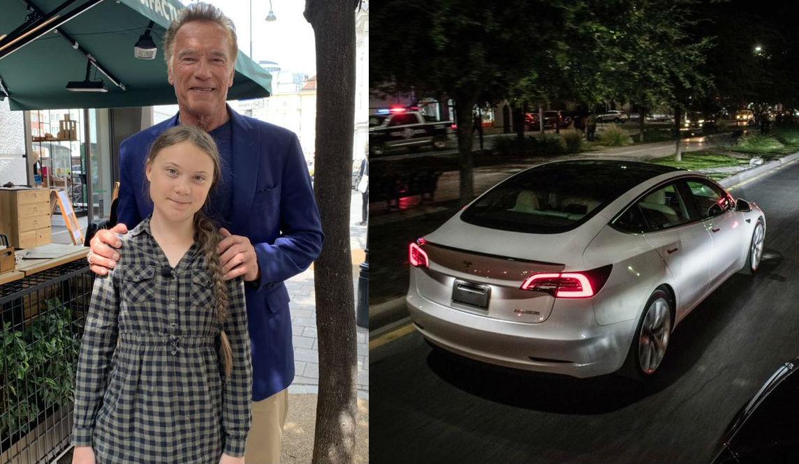 Arnold Schwarzenegger sends Tesla Model 3 for climate activist Greta Thunberg