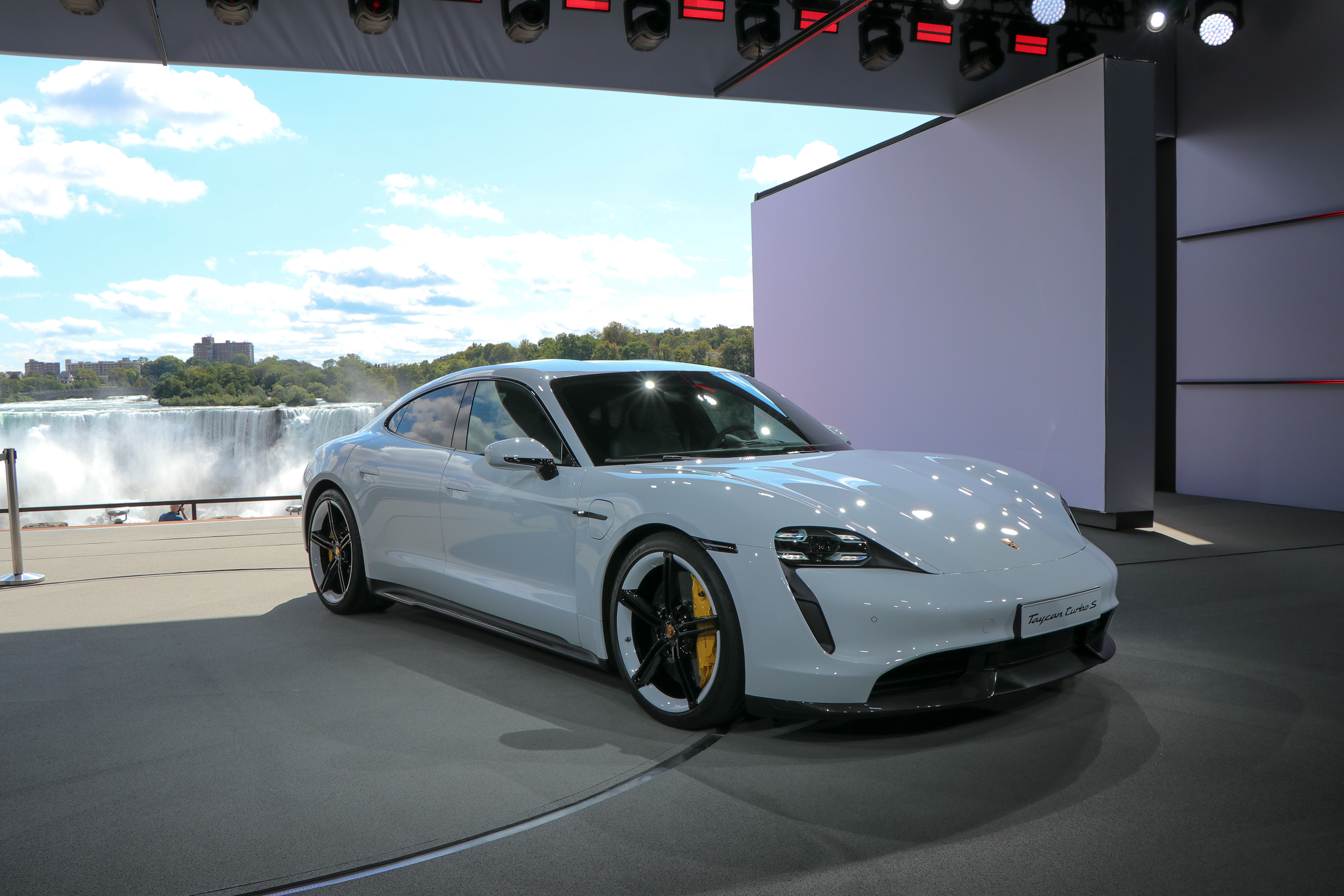 World Premiere of all-electric Porsche Taycan with Niagra Falls as the backdrop