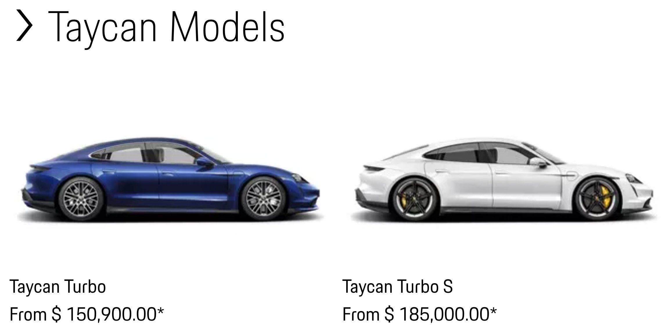 Porsche Taycan Turbo vs. Turbo S base pricing