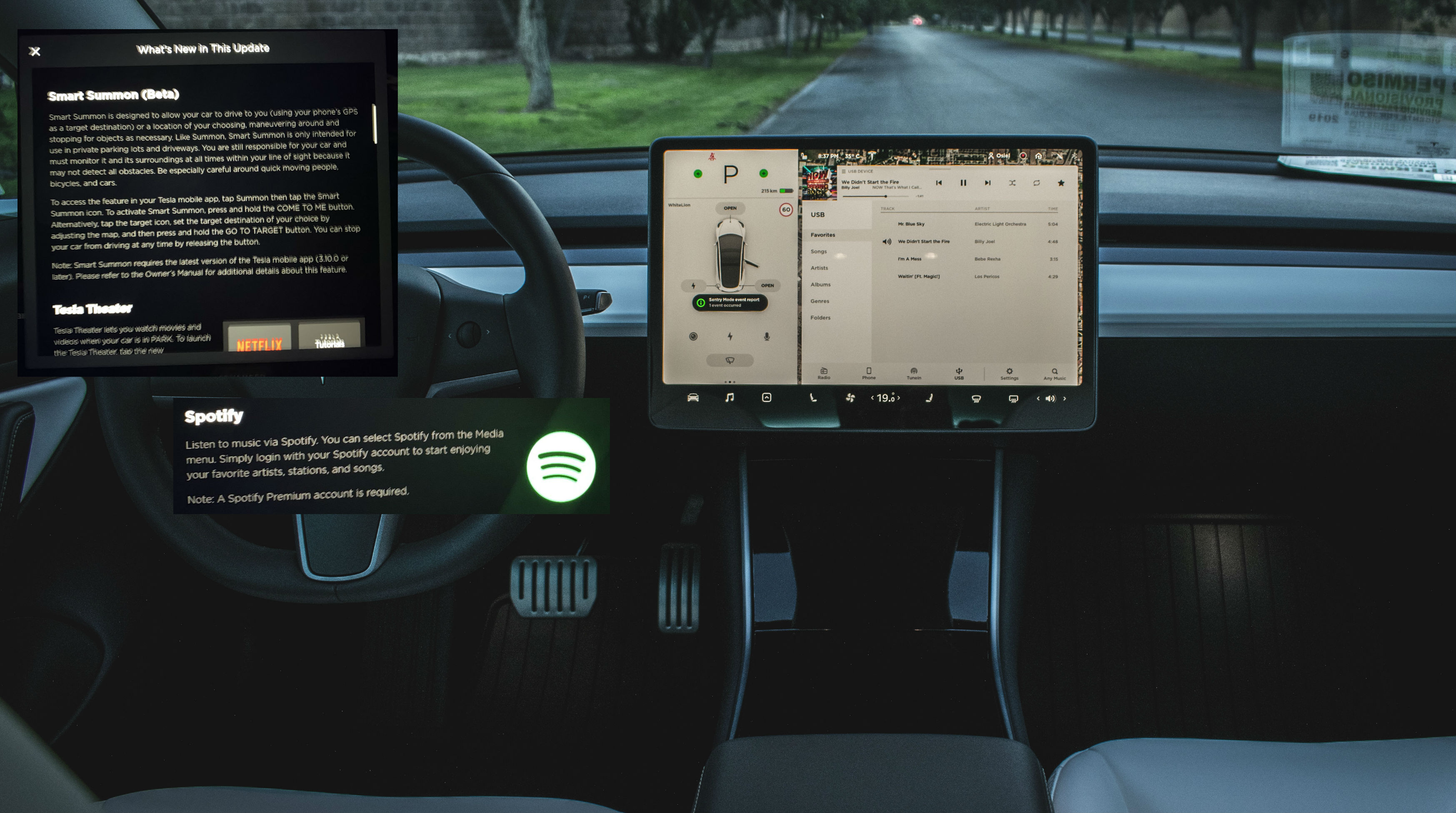 tesla-model-3-v10-smart-summon-spotify