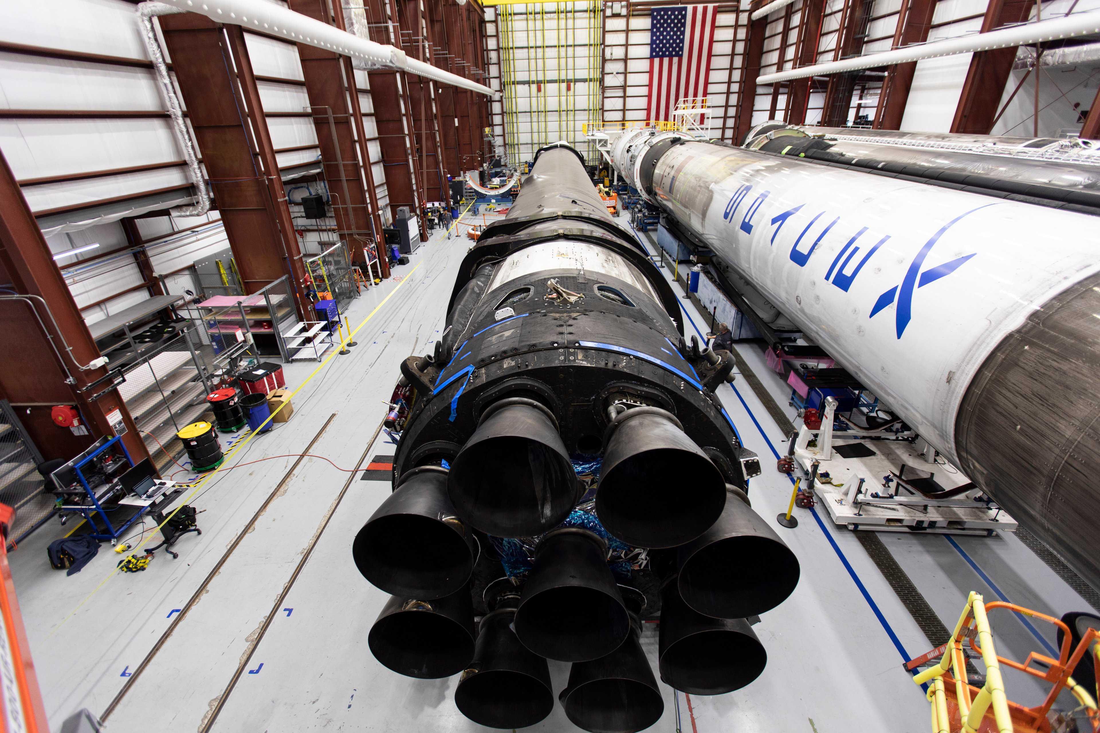 Falcon 9 B1046 four booster 39A hangar 100319 (SpaceX) 1 (c)