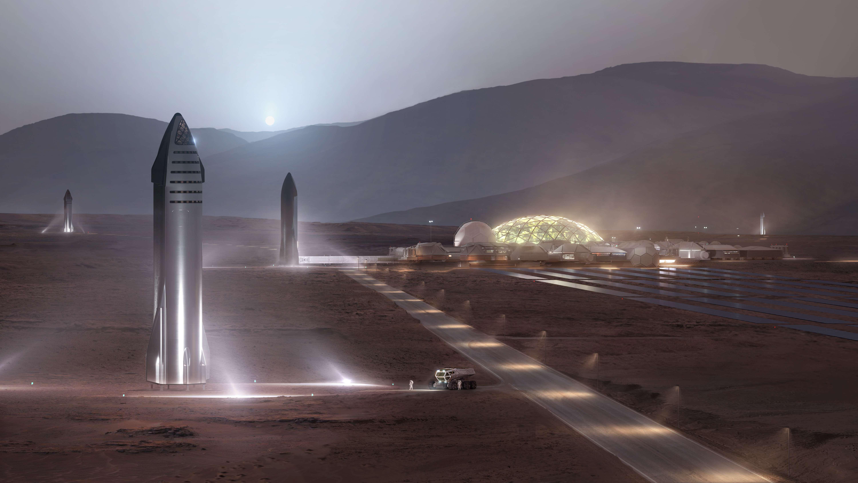 Starship 2019 Mars base render (SpaceX) 1 full (c)
