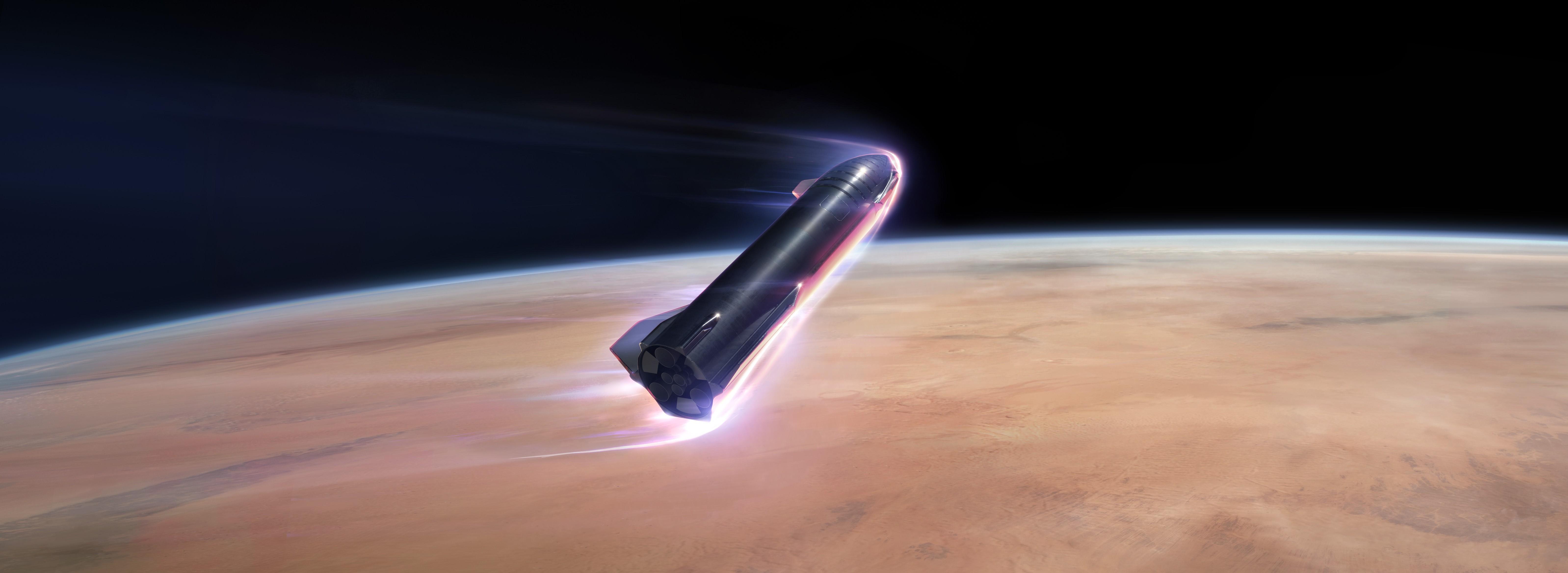 Starship 2019 Mars reentry render (SpaceX) 1 crop 2