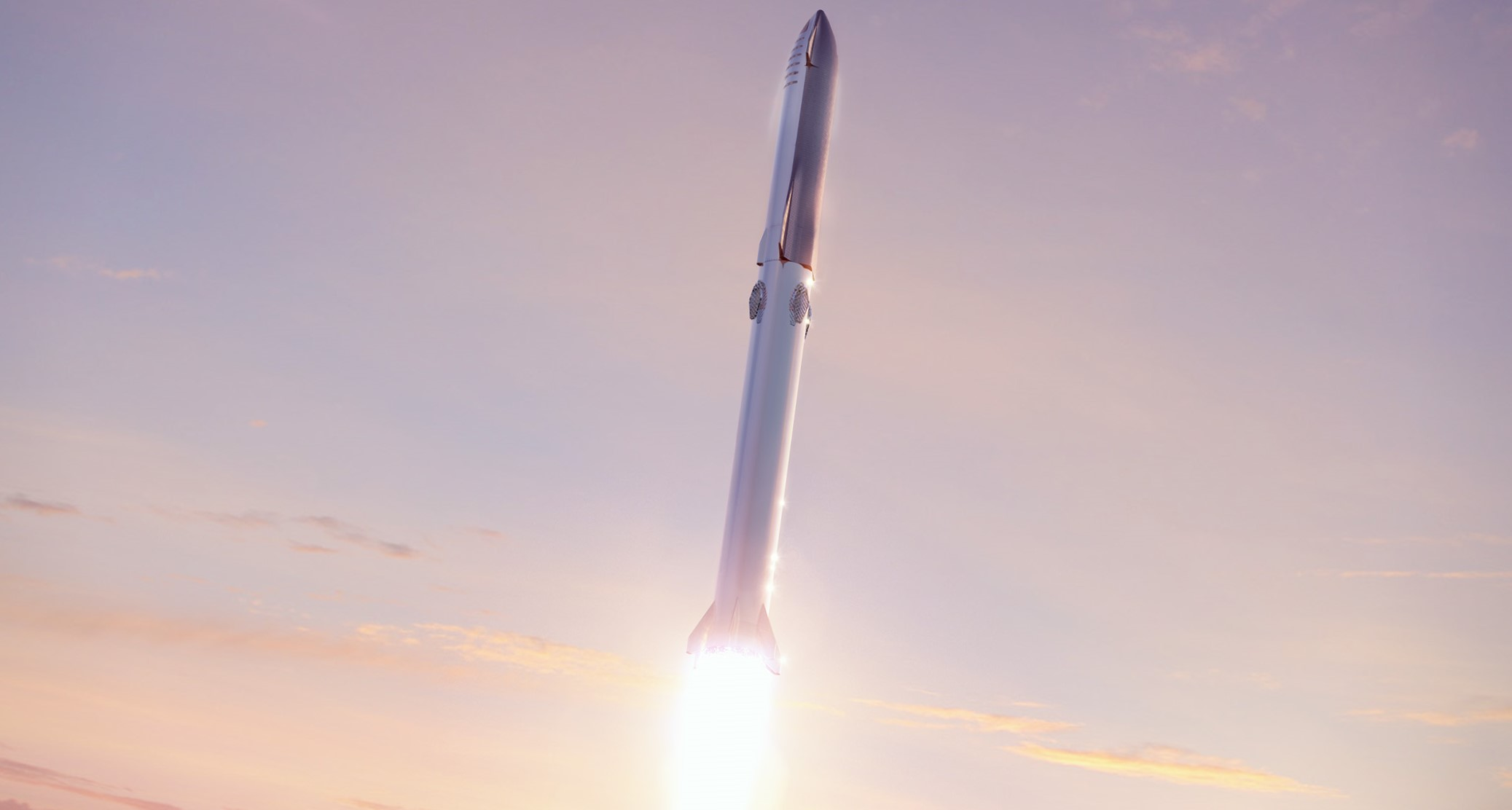 Starship 2019 (SpaceX) Super Heavy launch render 1 crop 2