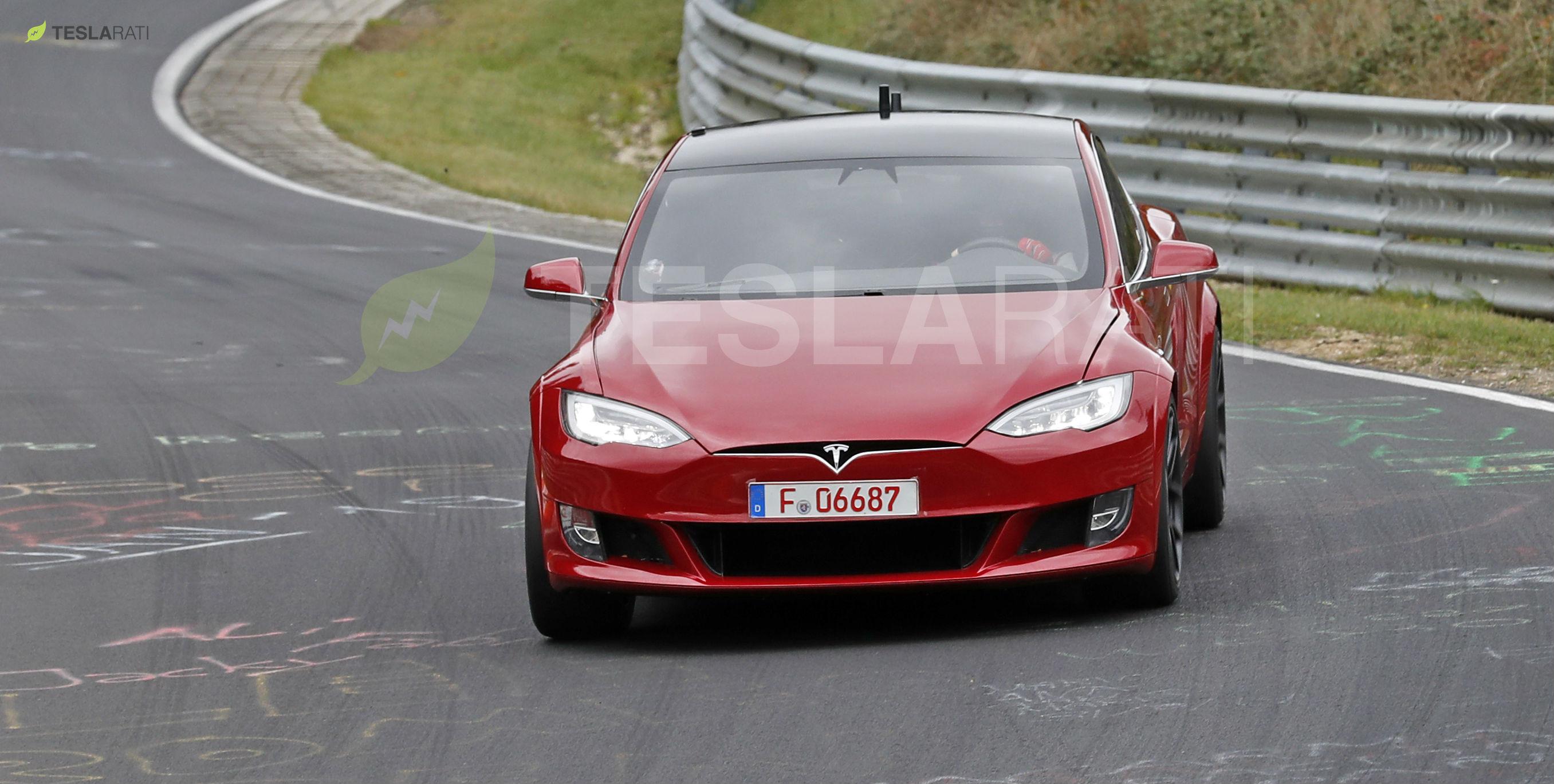 Red Tesla Model S P100D+ Nurburgring 1