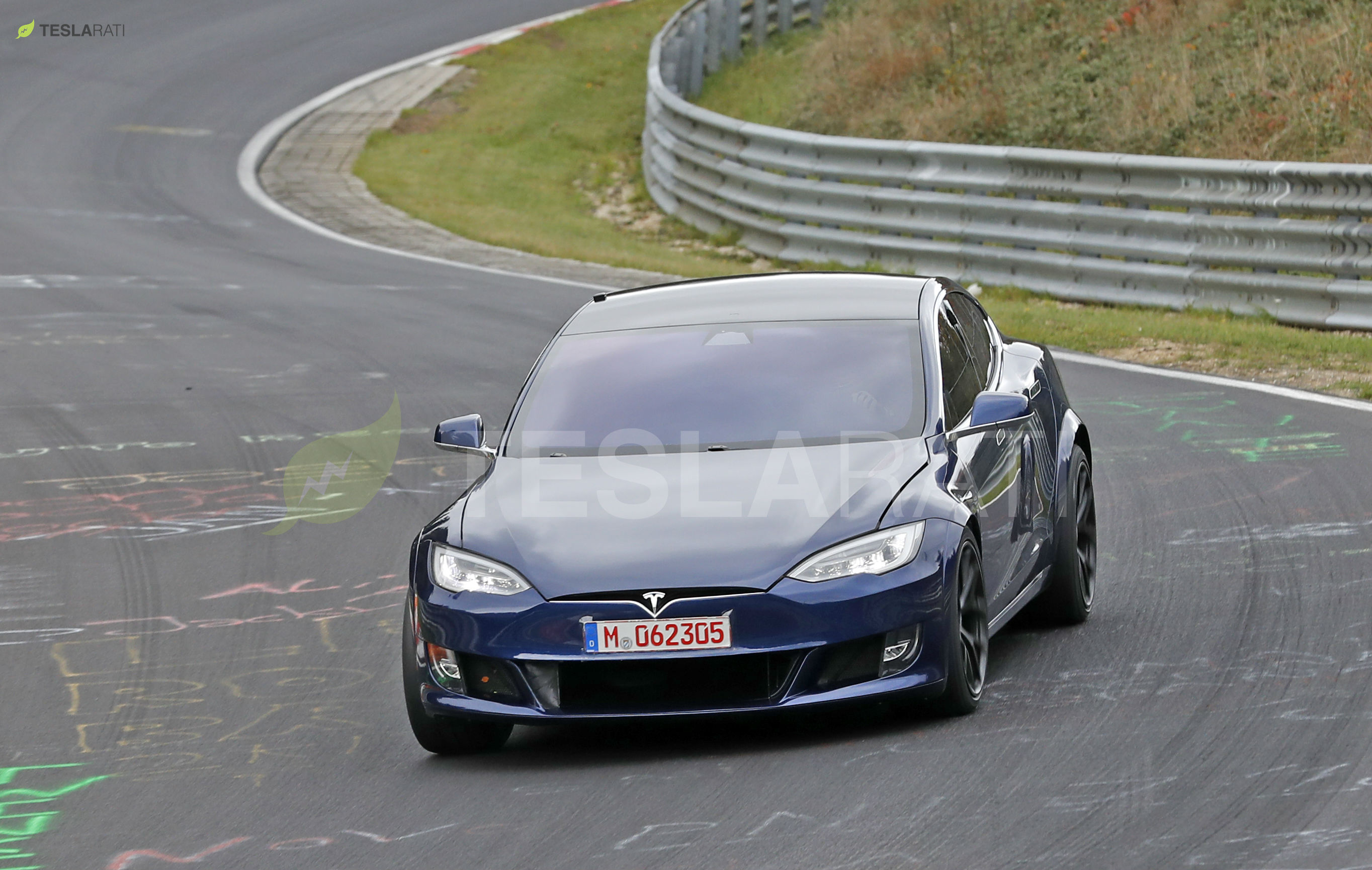 Blue Tesla Model S Plaid Nurburgring 10