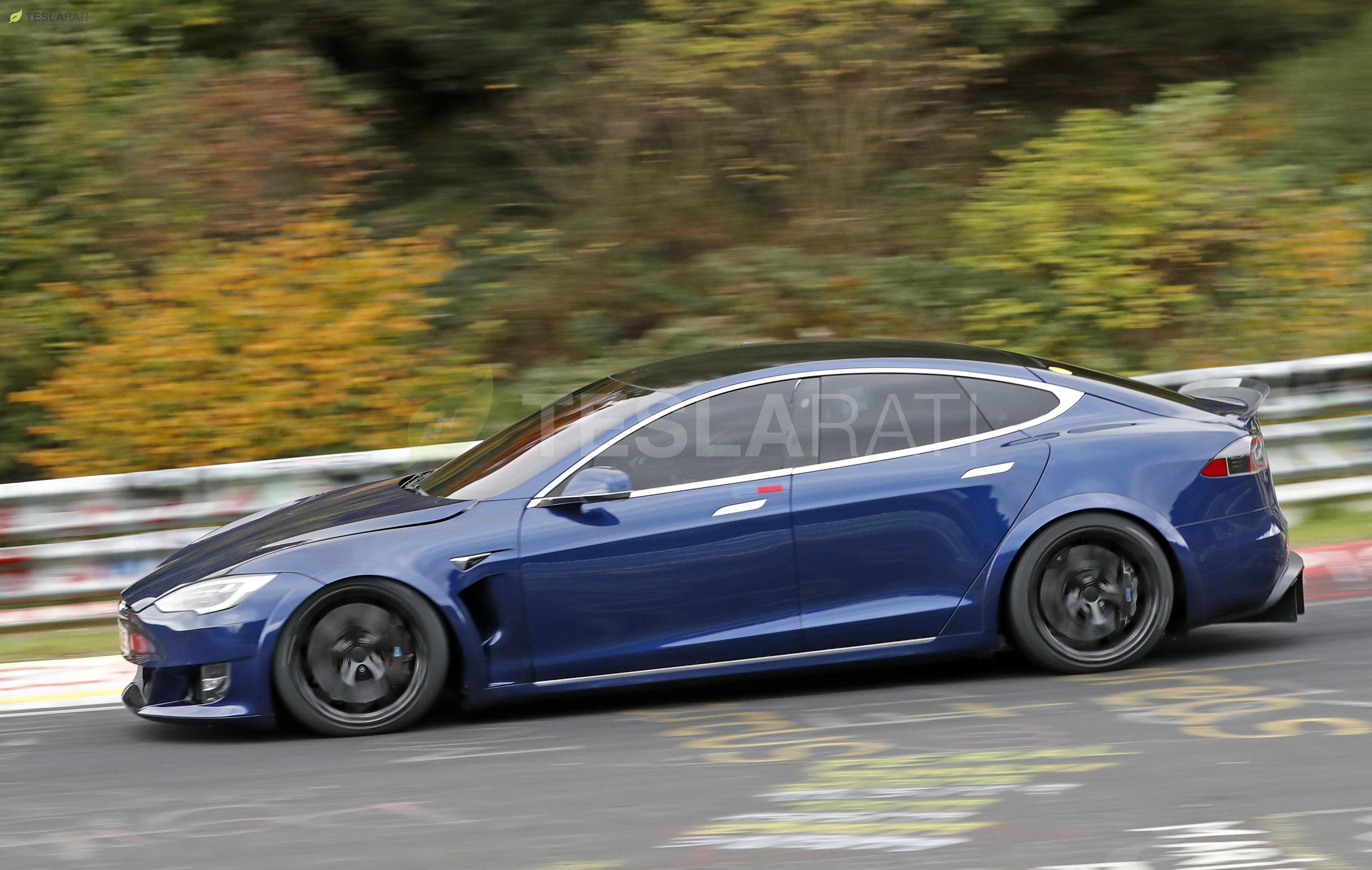 Blue Tesla Model S Plaid Nurburgring 15