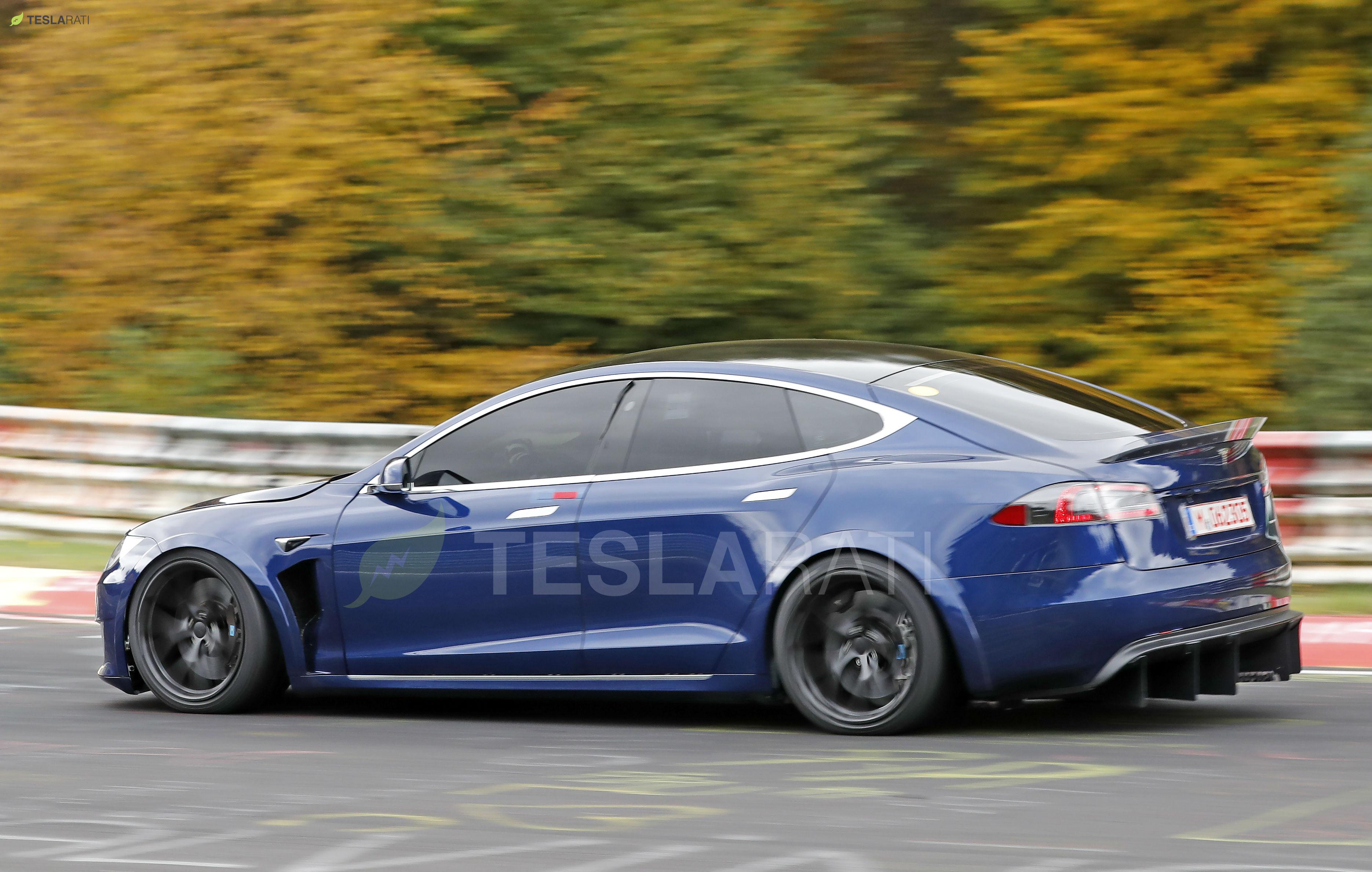 Blue Tesla Model S Plaid Nurburgring 16