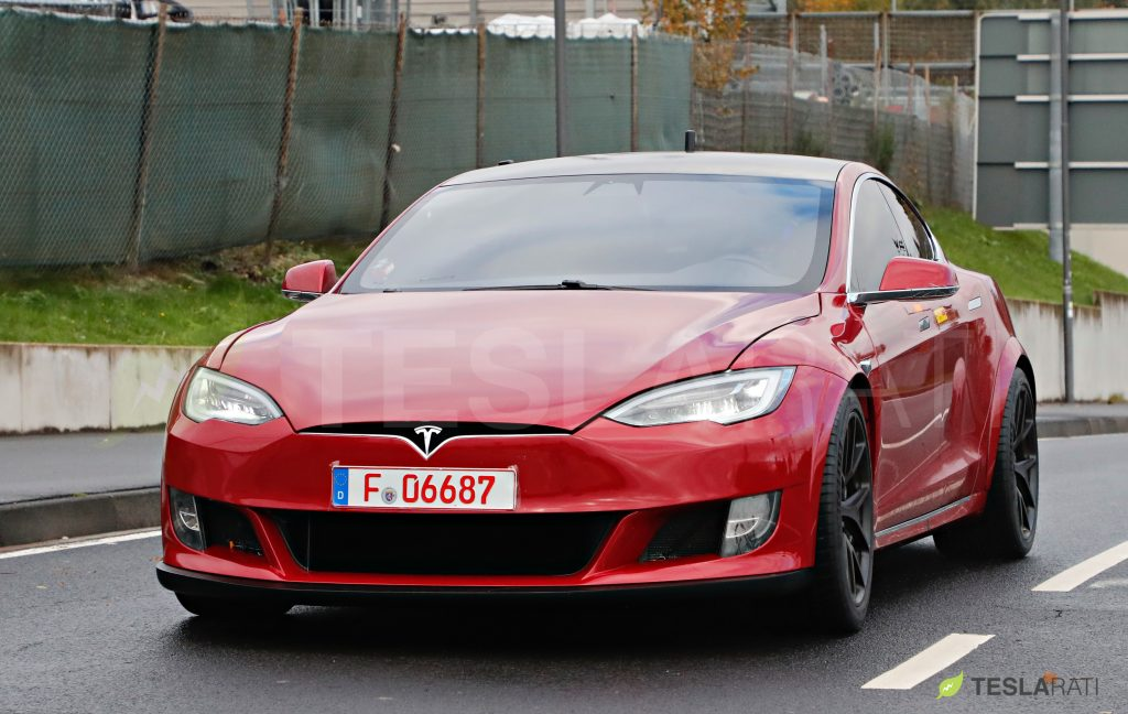 Red Tesla Model S P100D+ spotted at the Nurburgring with upgrade front spoiler (Photo: Teslarati)