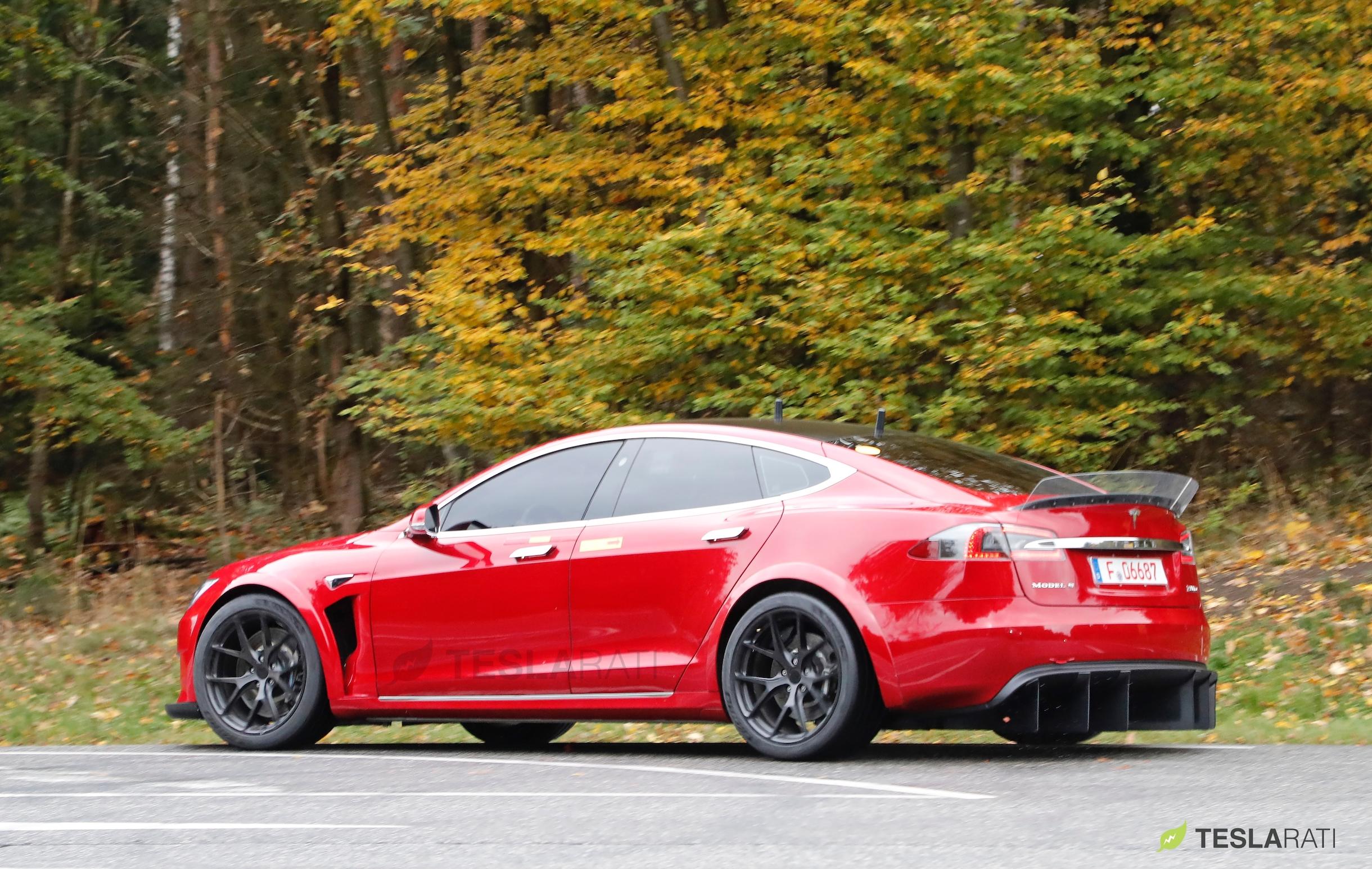 Red Tesla Model S P100D+ side
