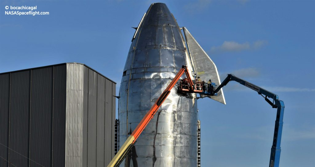 Spacex Installs Starship Mk1 Rocket S Flaps For The Second