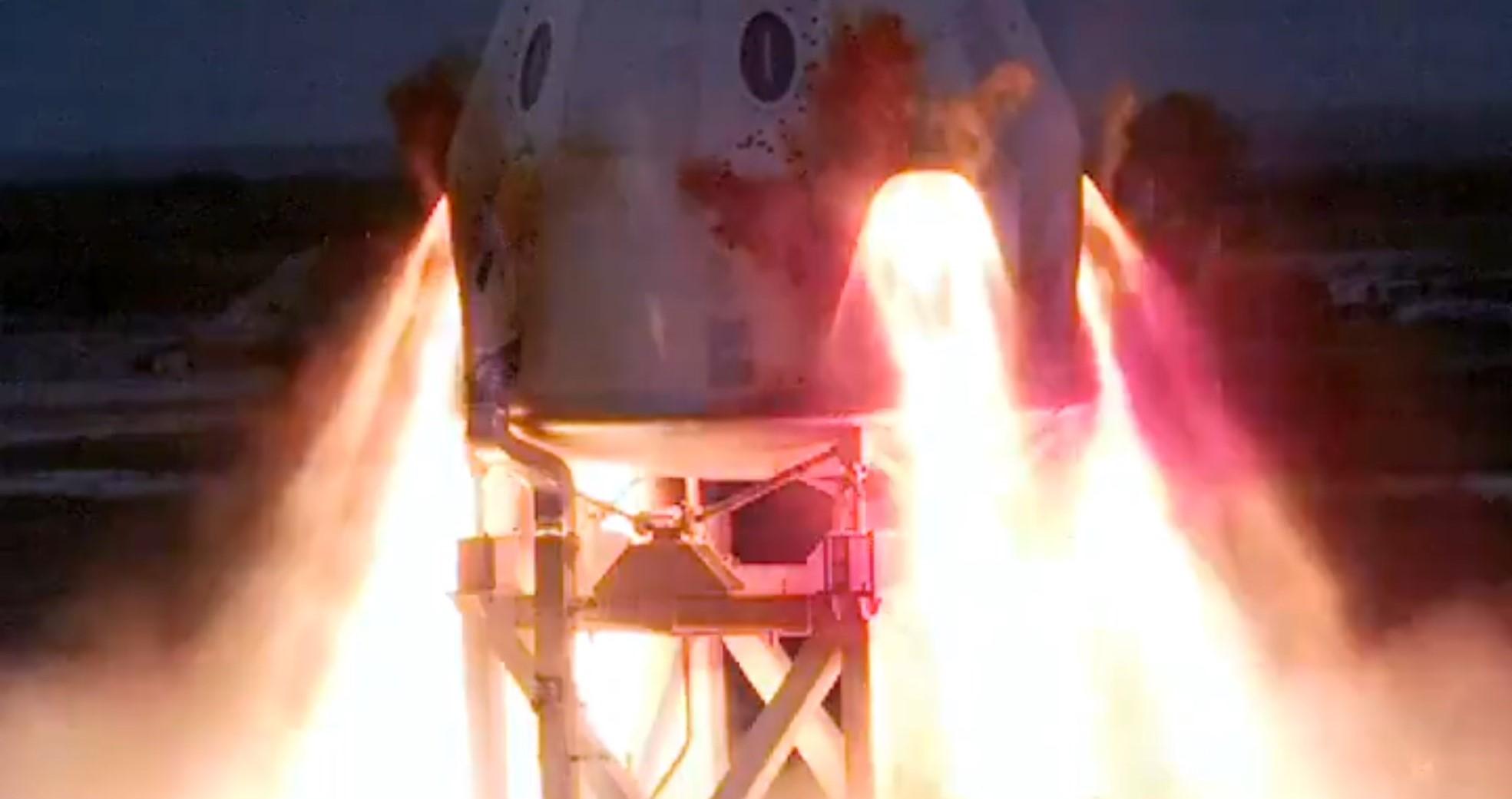 Crew Dragon C205 SuperDraco static fire 111319 (SpaceX) video 1 crop