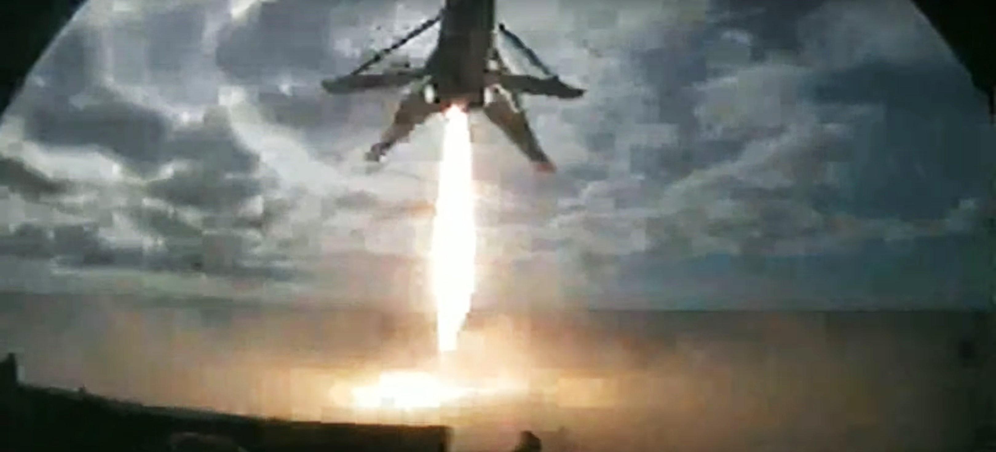 Starlink-1 v1.0 webcast (SpaceX) B1048 OCISLY landing 1