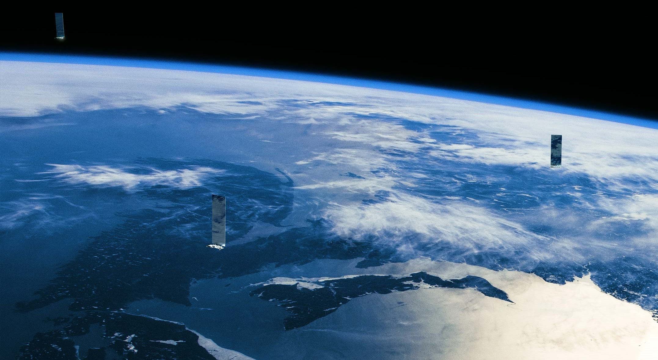 Starlink in orbit render (SpaceX) 1 crop