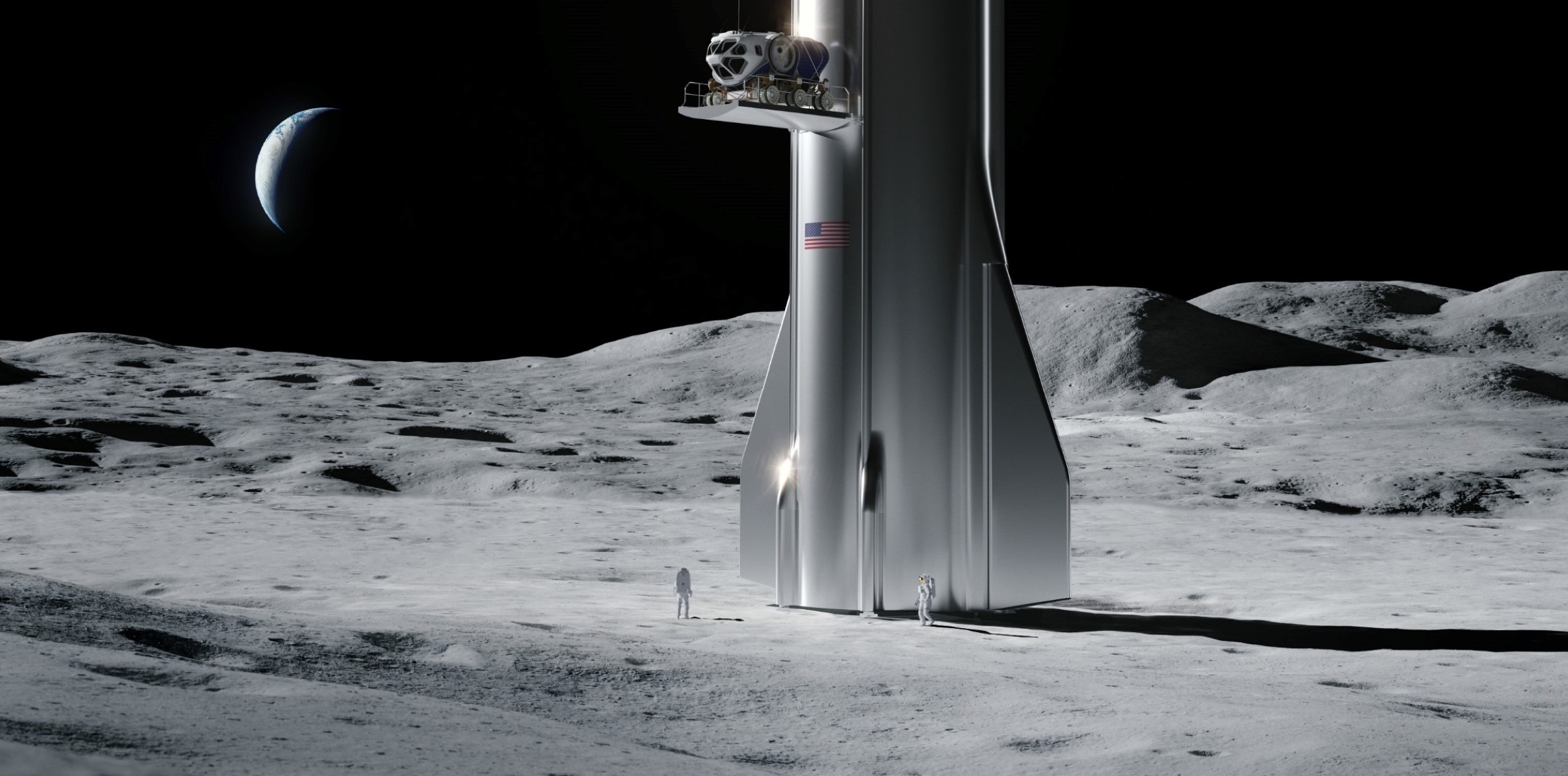Starship 2019 Moon landing rover delivery (SpaceX) render 1 crop