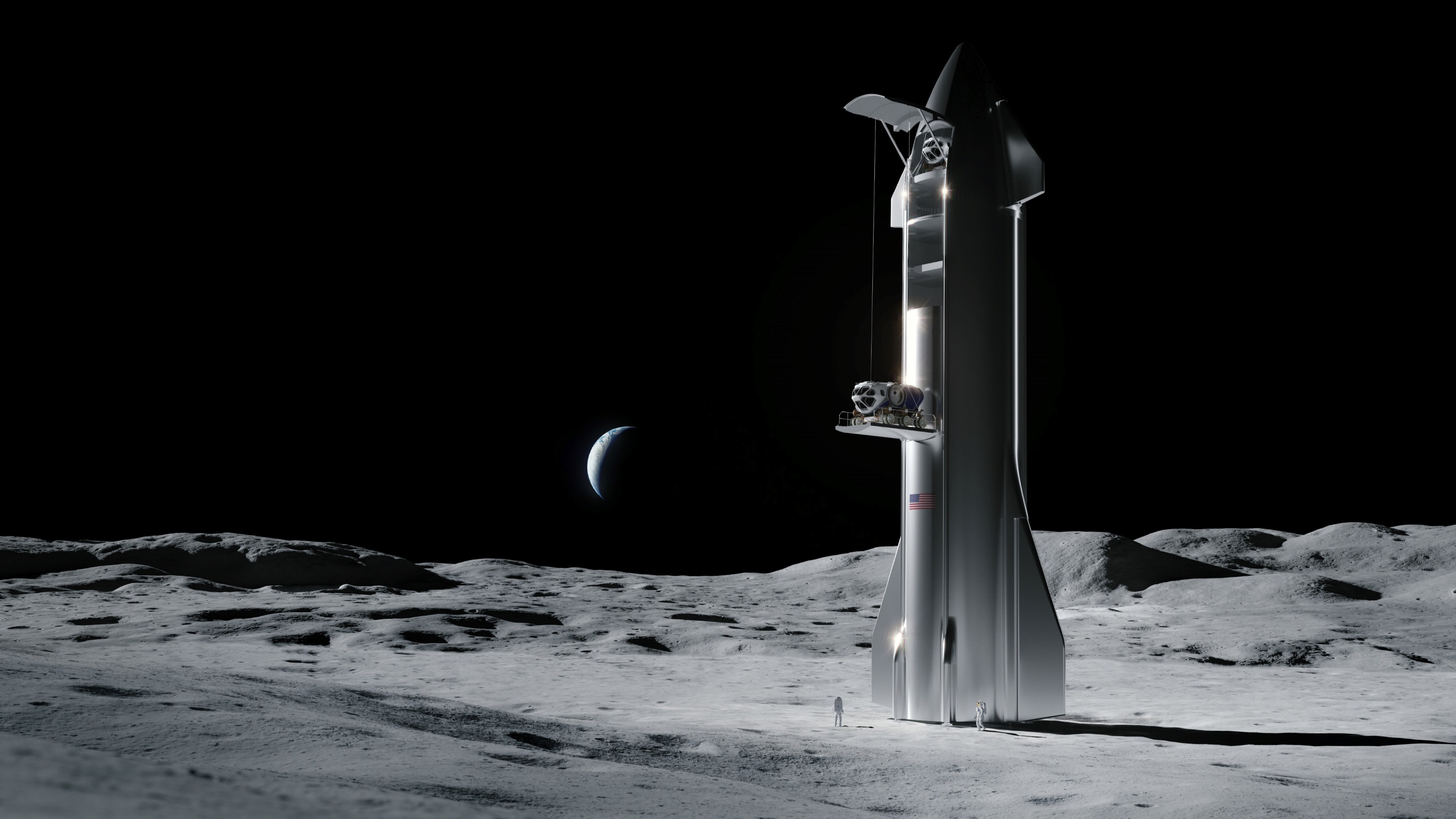 Starship 2019 Moon landing rover delivery (SpaceX) render 1