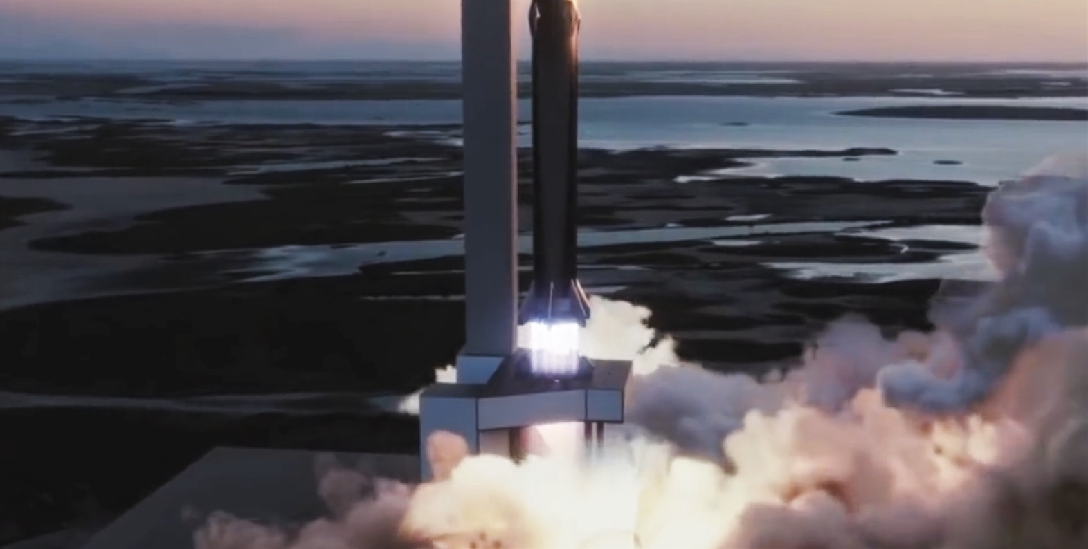 Starship Super Heavy 2019 (SpaceX) launch mount 4