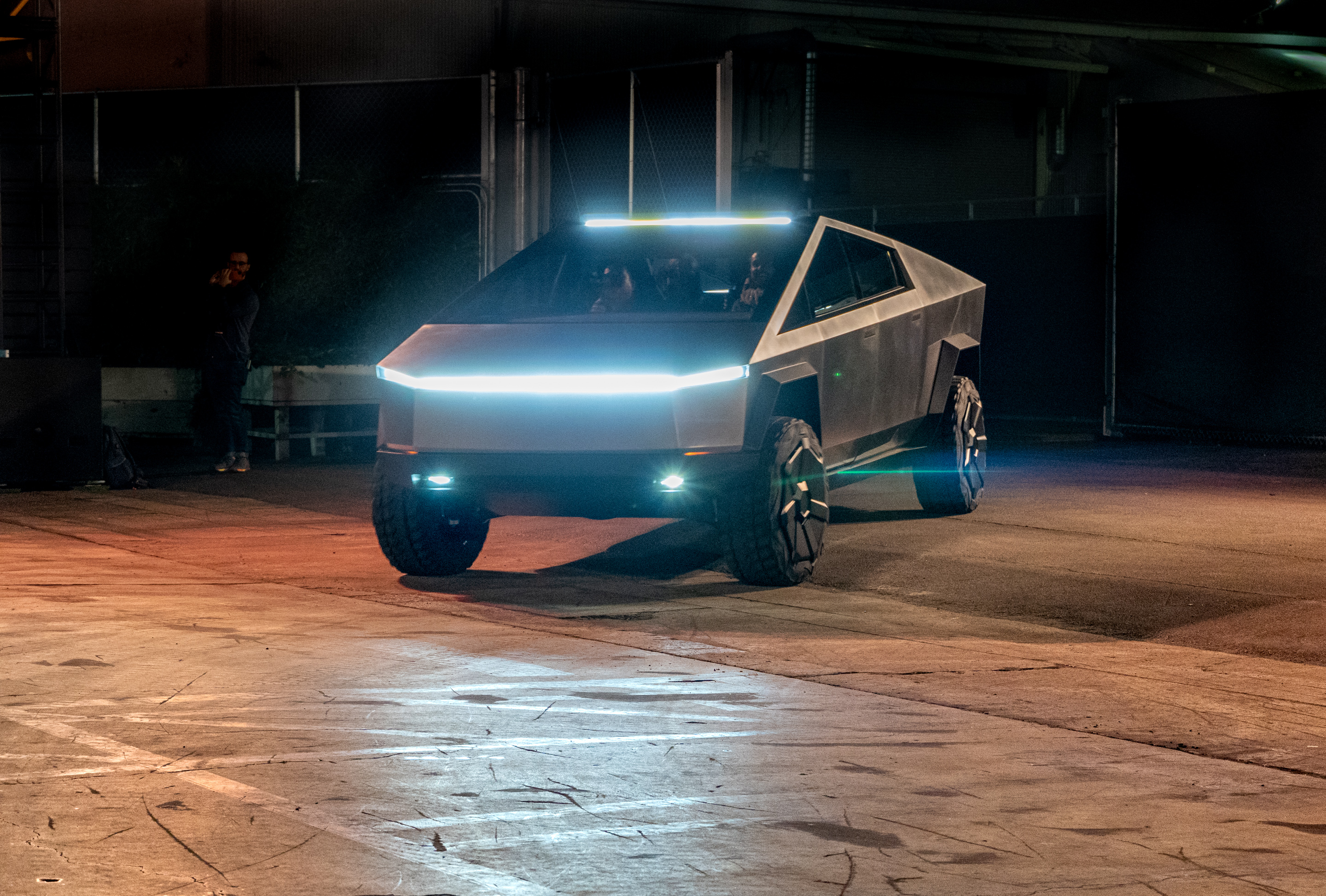 Tesla Cybertruck headlights light up the route in Los Angeles test ride on Nov. 21, 2019