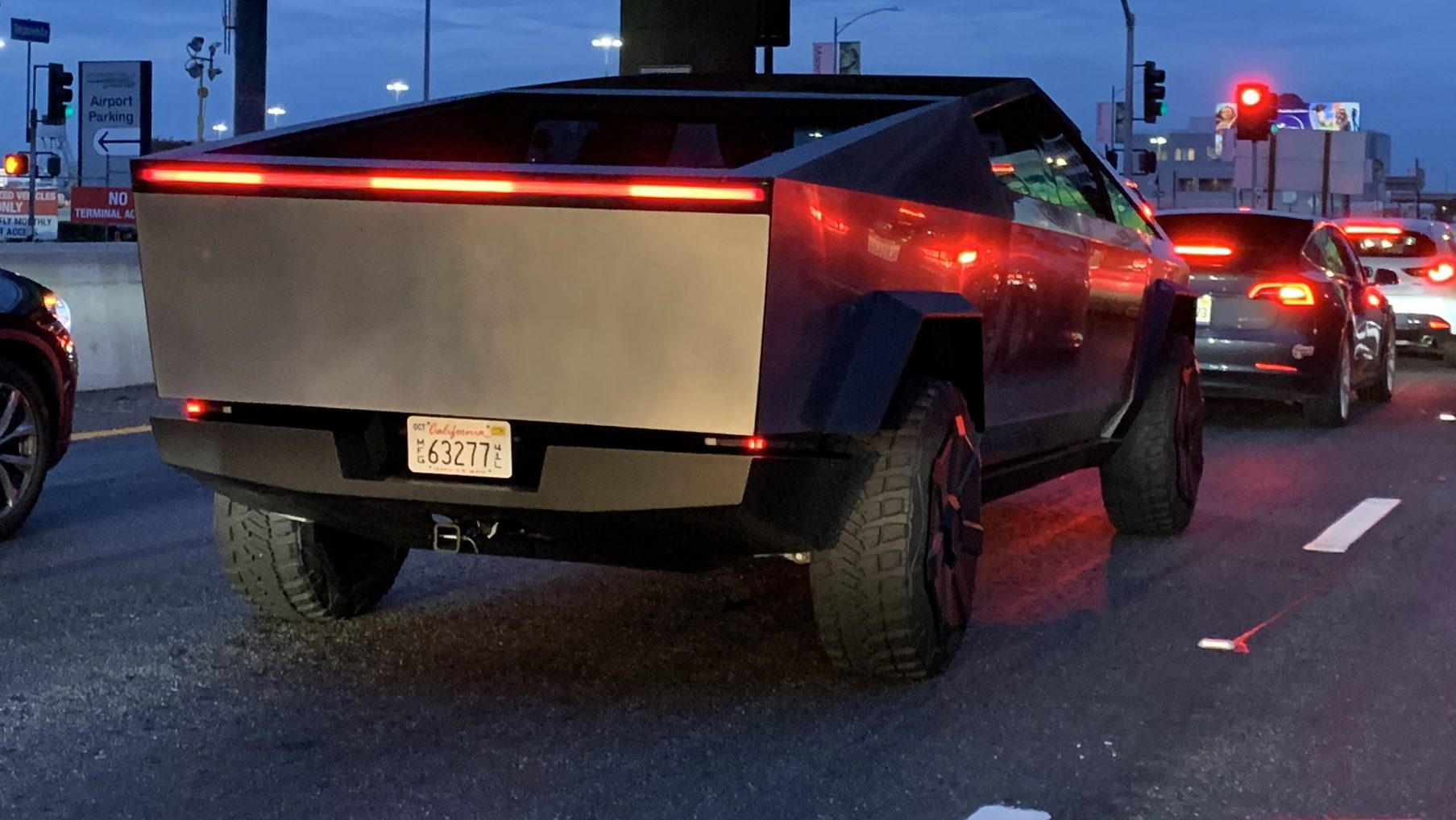 Tesla Cybertruck with Tow Hitch Exposed