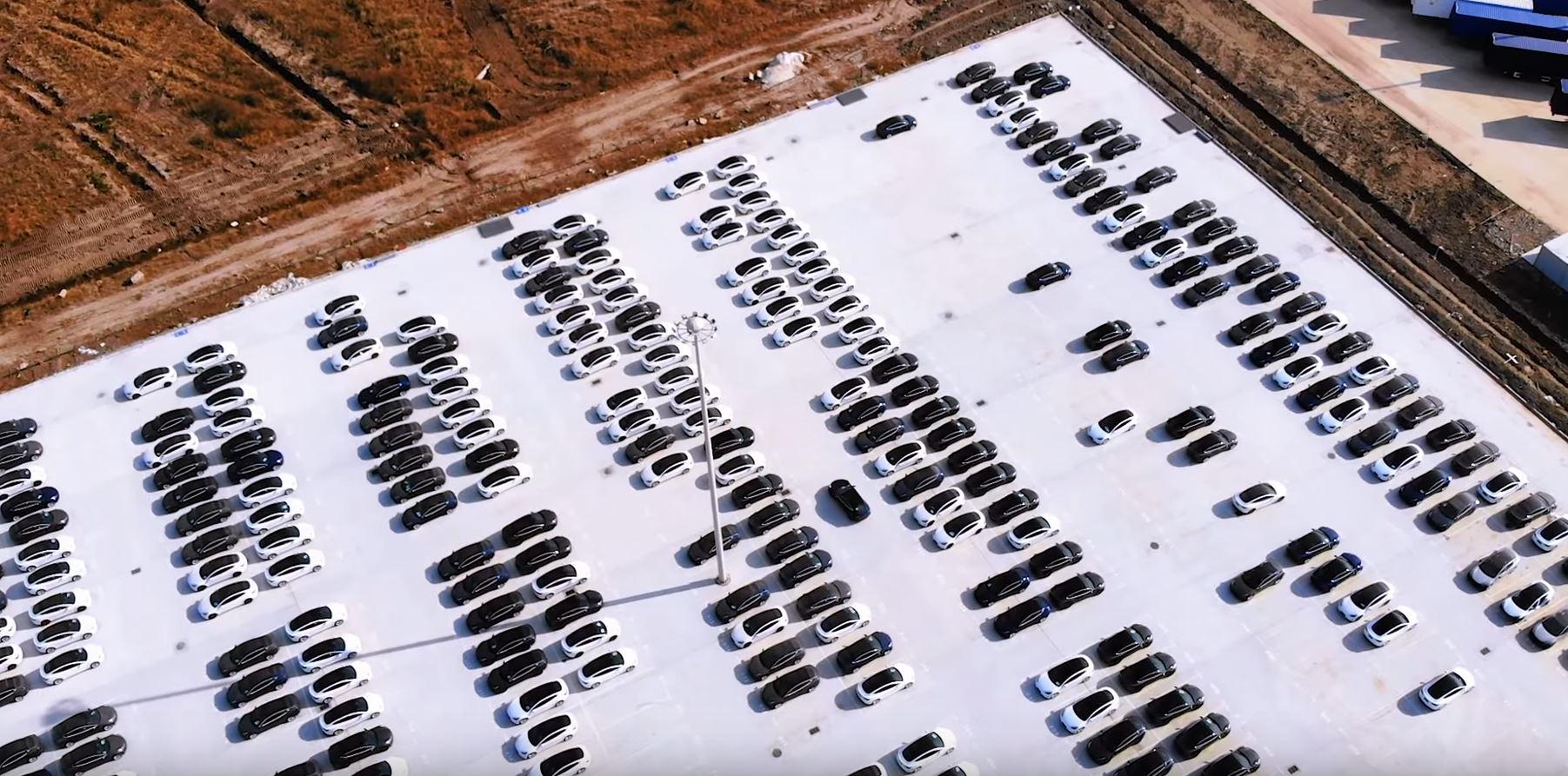 Tesla MIC Model 3 Dot Gigafactory 3 Parking Lot