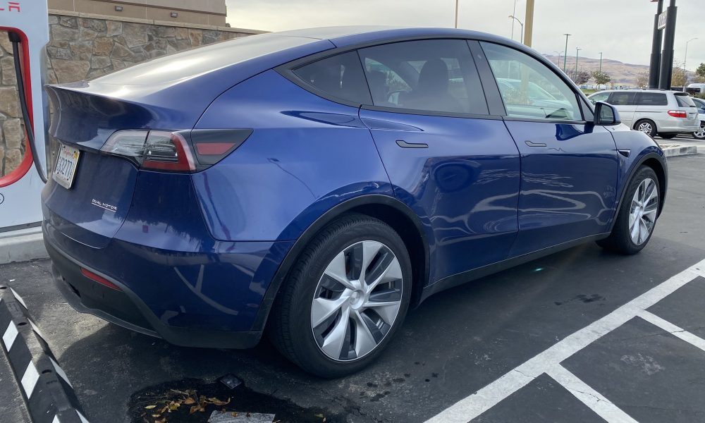 Blue Tesla Model Y Performance