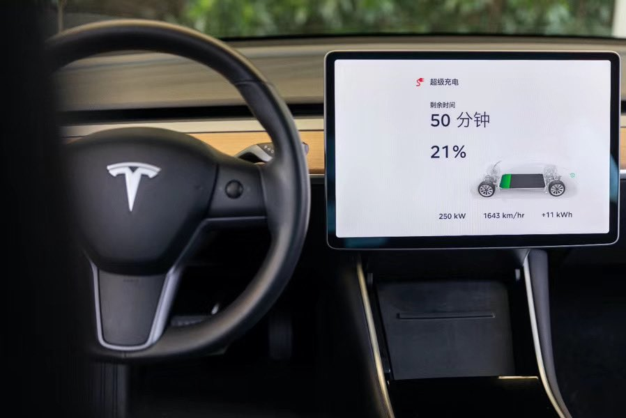 Tesla Model 3 touchscreen V3 Supercharging China