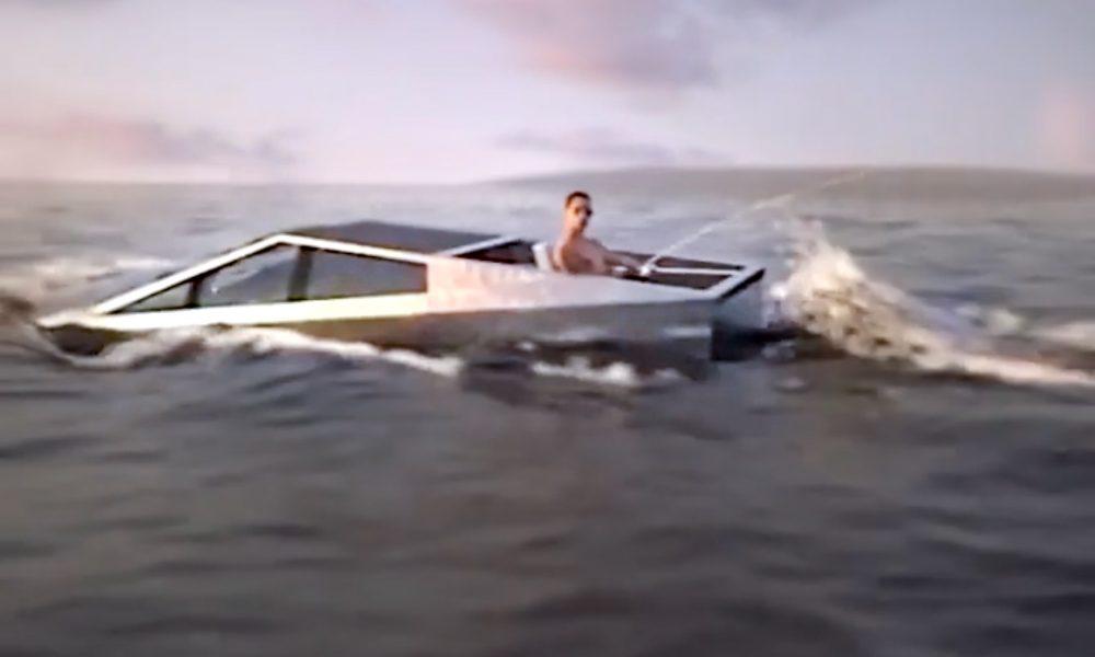 Tesla Cybertruck floating in water render