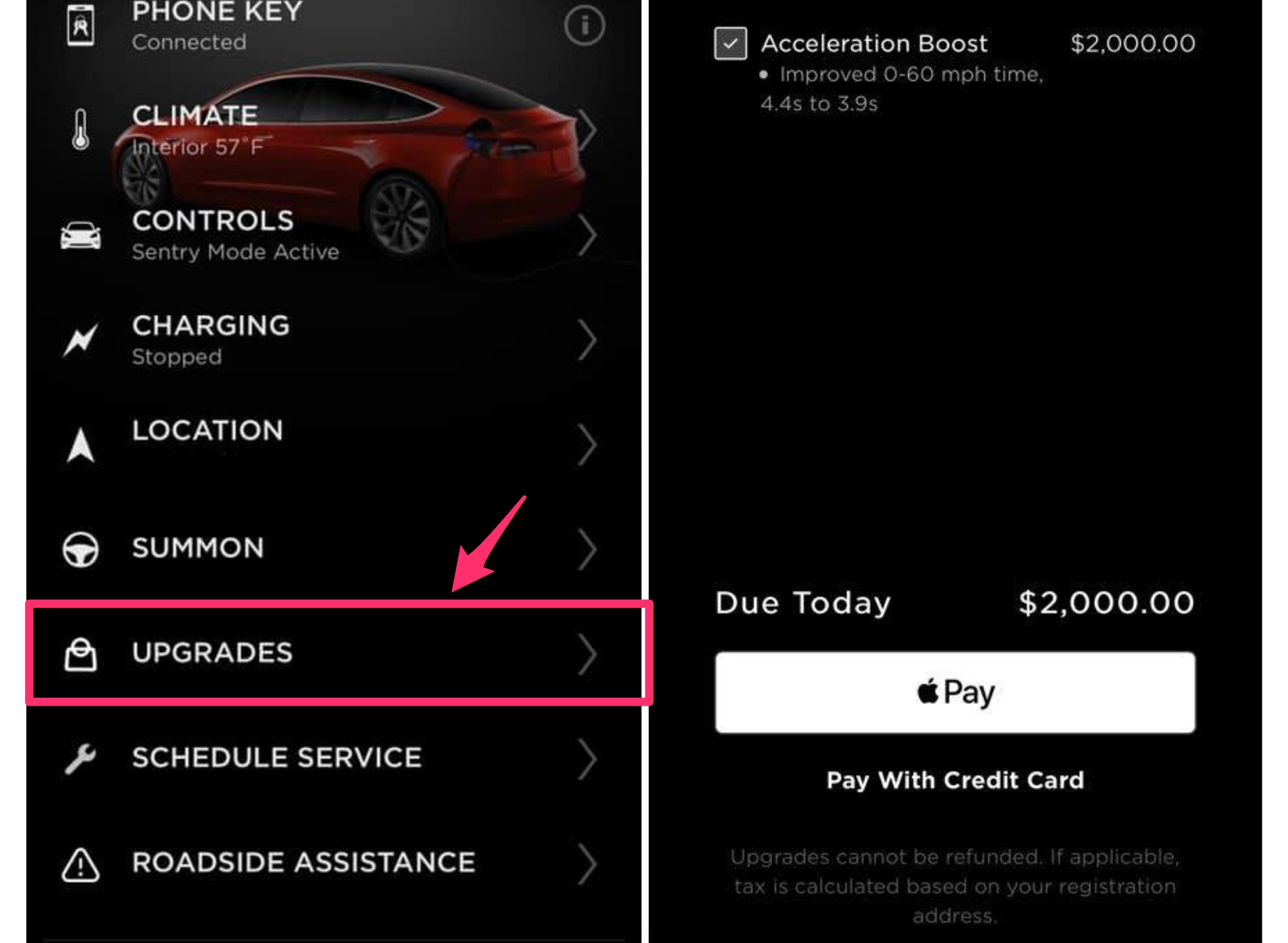 Tesla mobile app upgrades (Credit: Mark Gillund‎ via Tesla Model 3 Facebook Group)