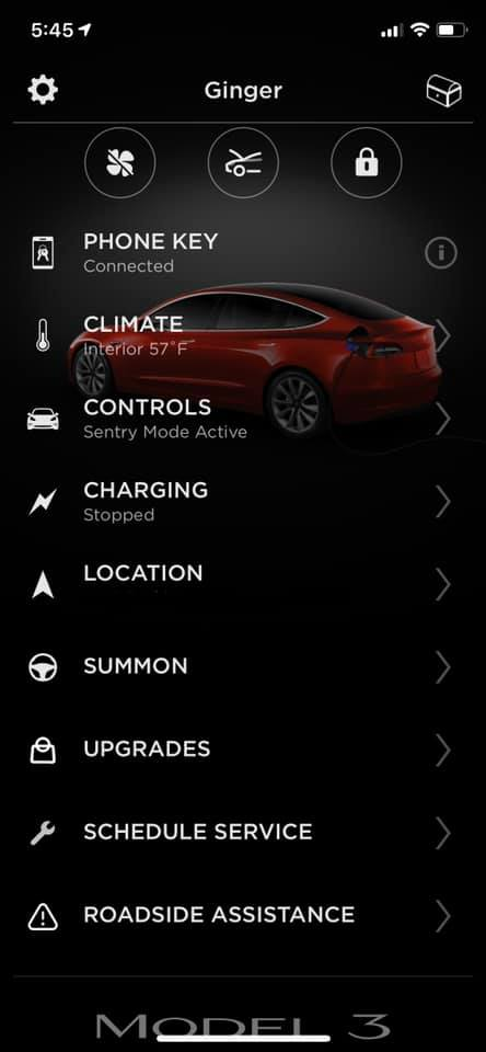Tesla mobile app upgrades  (Credit: Mark Gillund via Tesla Model 3 Facebook Group)