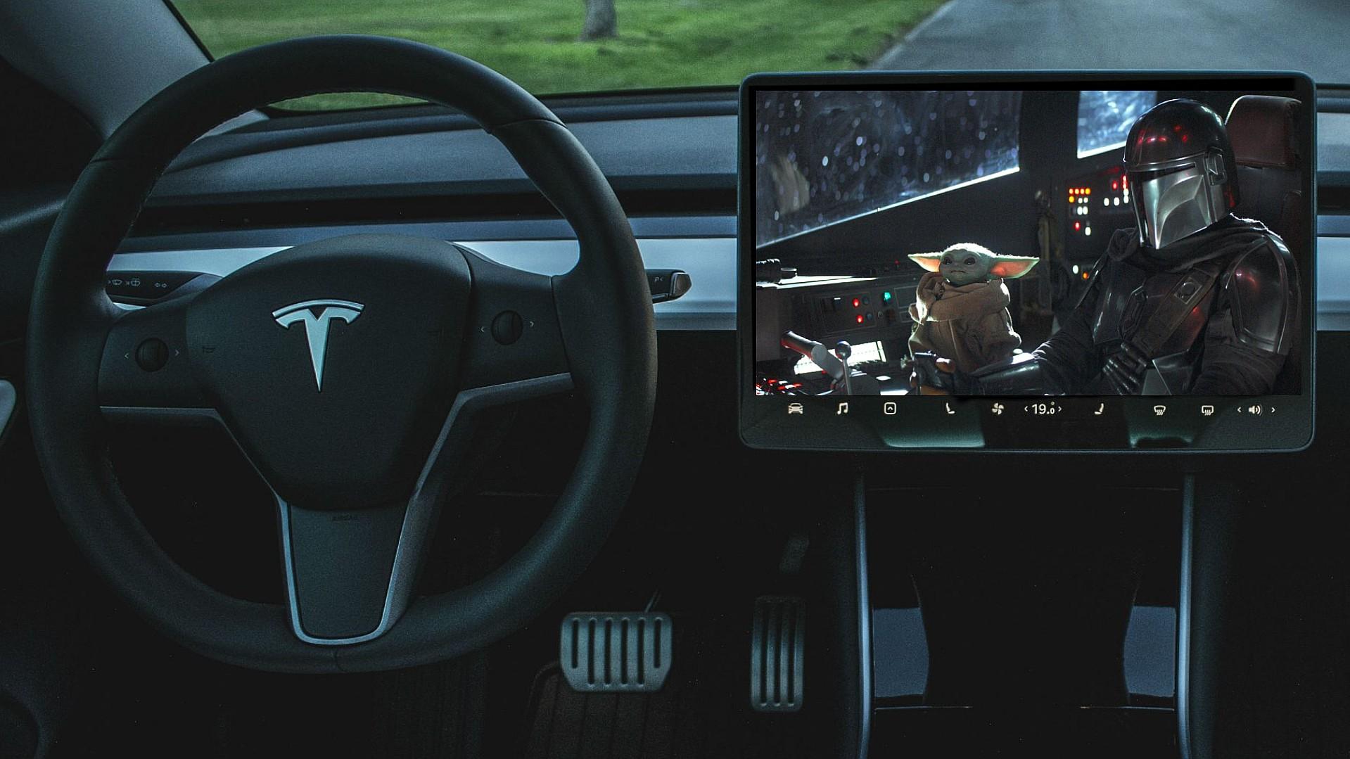 Tesla Model 3 playing Disney Plus video
