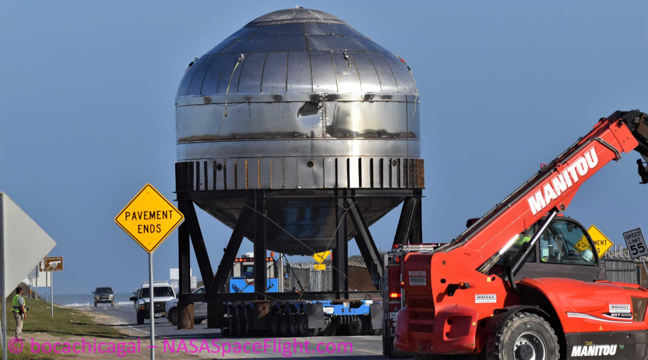 Starship Boca Chica 010920 (NASASpaceflight – bocachicagal) test tank transport 6 crop (c)