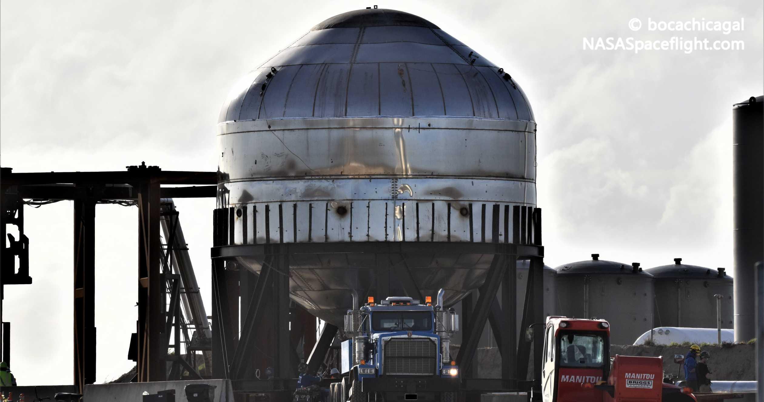 Starship Boca Chica 010920 (NASASpaceflight – bocachicagal) test tank transport 7 crop (c)