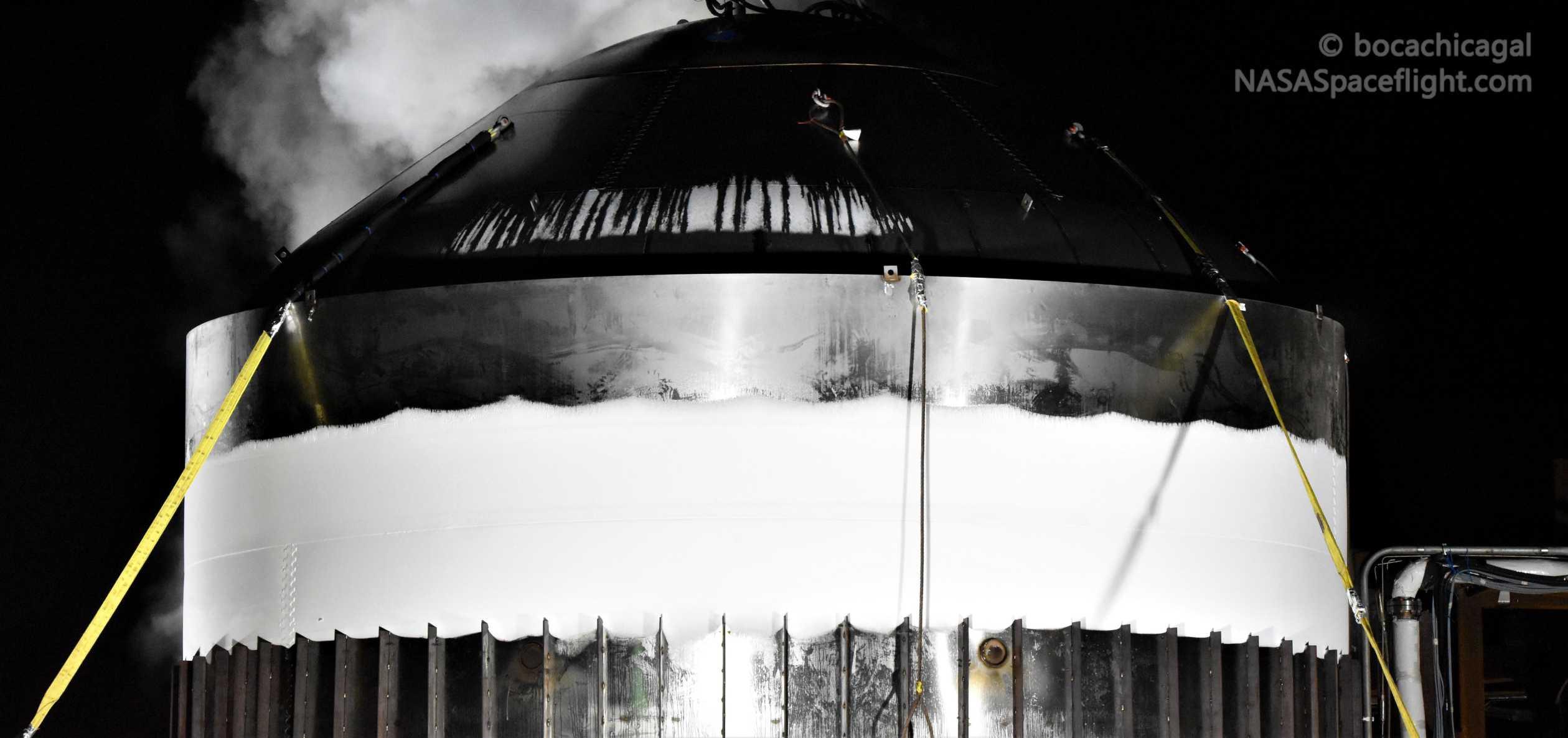 Starship Boca Chica 012820 (NASASpaceflight – bocachicagal) frosty test tank #2 4 crop (c)