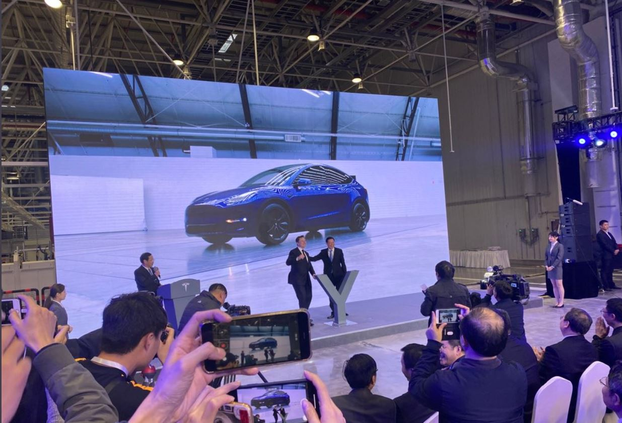 Tesla CEO Elon Musk at Model Y program launch at Gigafactory 3 China