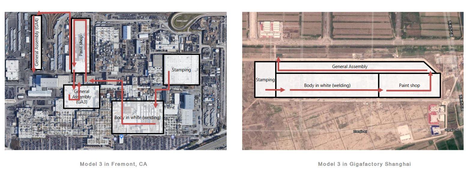Tesla Fremont Factory and Gigafactory Shanghai