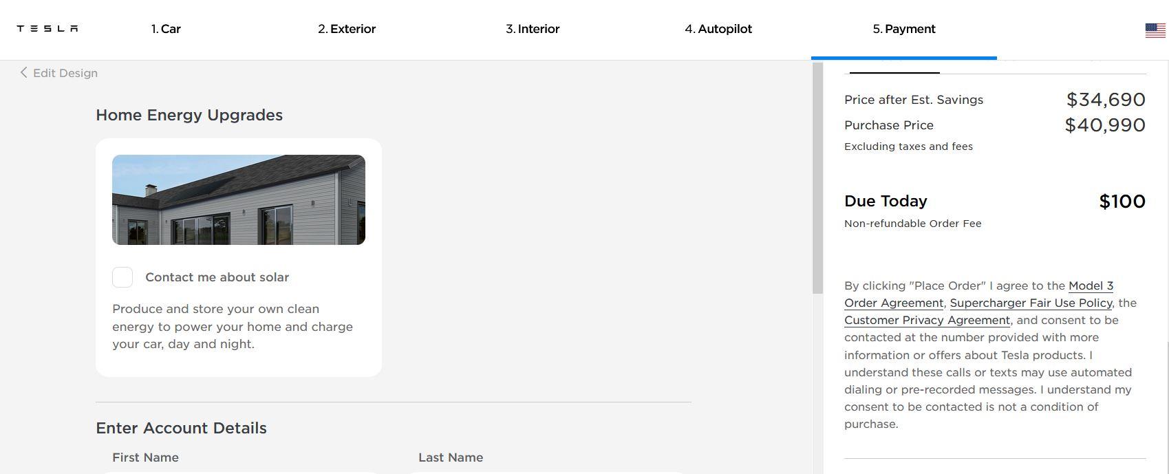 Tesla Model 3 Design Studio – Pay Order Fee