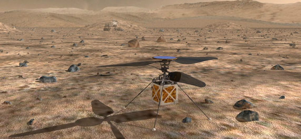 The Mars helicopter is an autonomous rotorcraft that will travel with the 2020 rover. Credit: NASA/JPL-Caltech