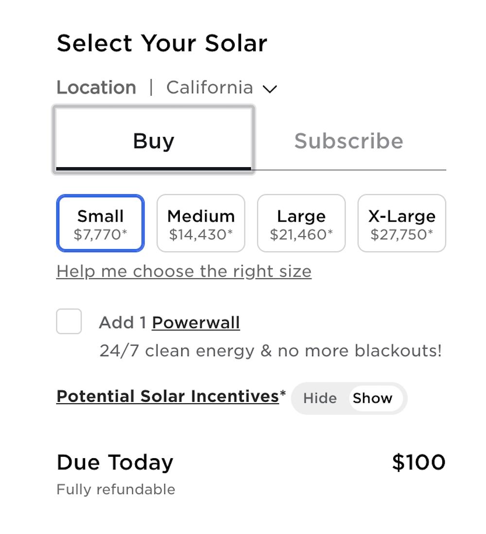tesla buy solar pricing guide