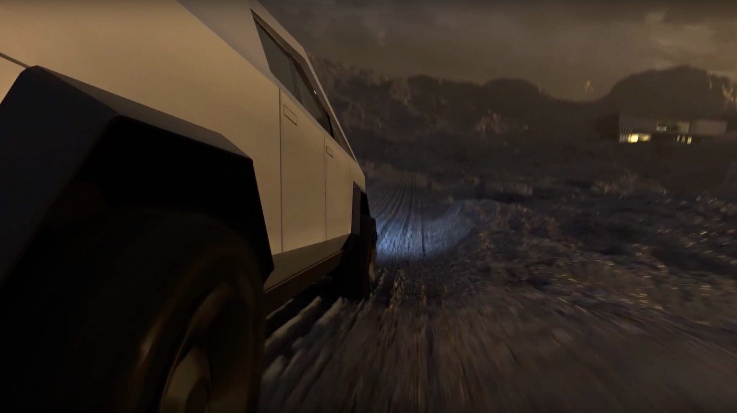 Tesla Cybertruck traverses dystopian wasteland to house of the future (Credit: archlab.de)