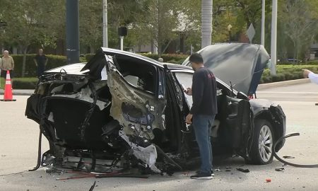 Tesla Model X sheers in half after high speed crash (WPLG Local 10 | YouTube)