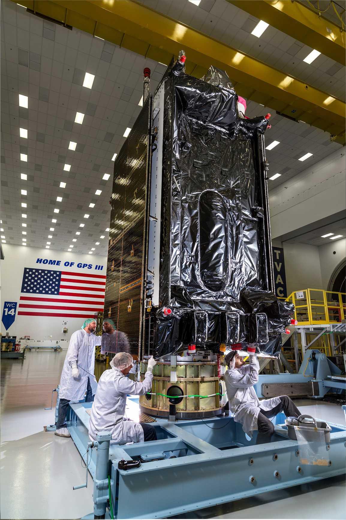 Lockheed Martin GPS III SV03 in Highbay