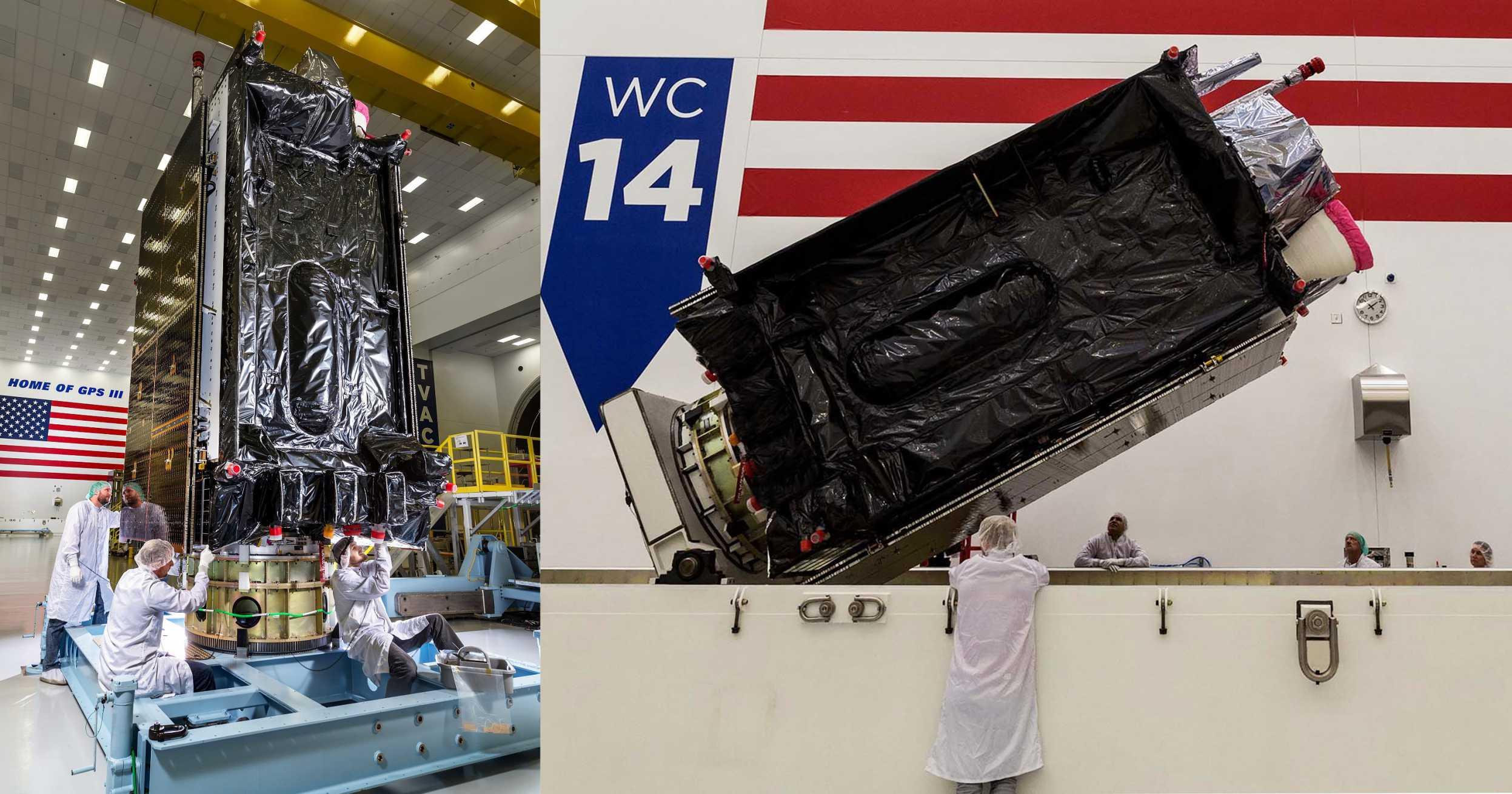 GPS III SV03 shipment prep Sept 2019 (Lockheed Martin) mosaic 1 (c)